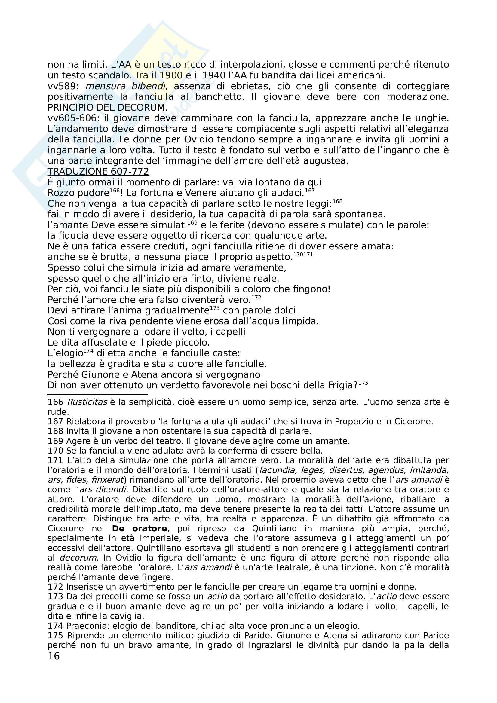 Ovidio e l Ars Amatoria Pag. 16