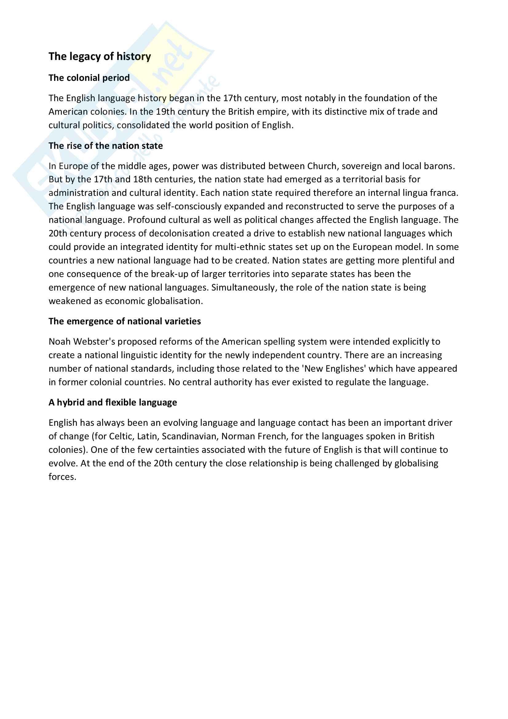 Riassunto esame Lingua e traduzione inglese 1, docente Christiansen, libro consigliato The future of English, Graddol