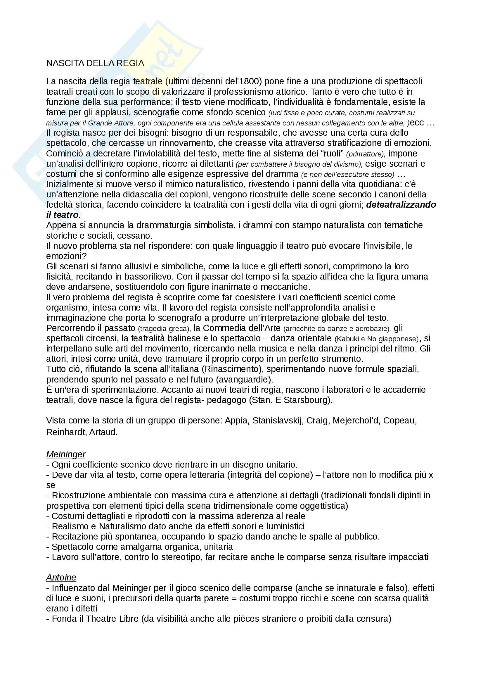 appunto M. Schino Storia della regia