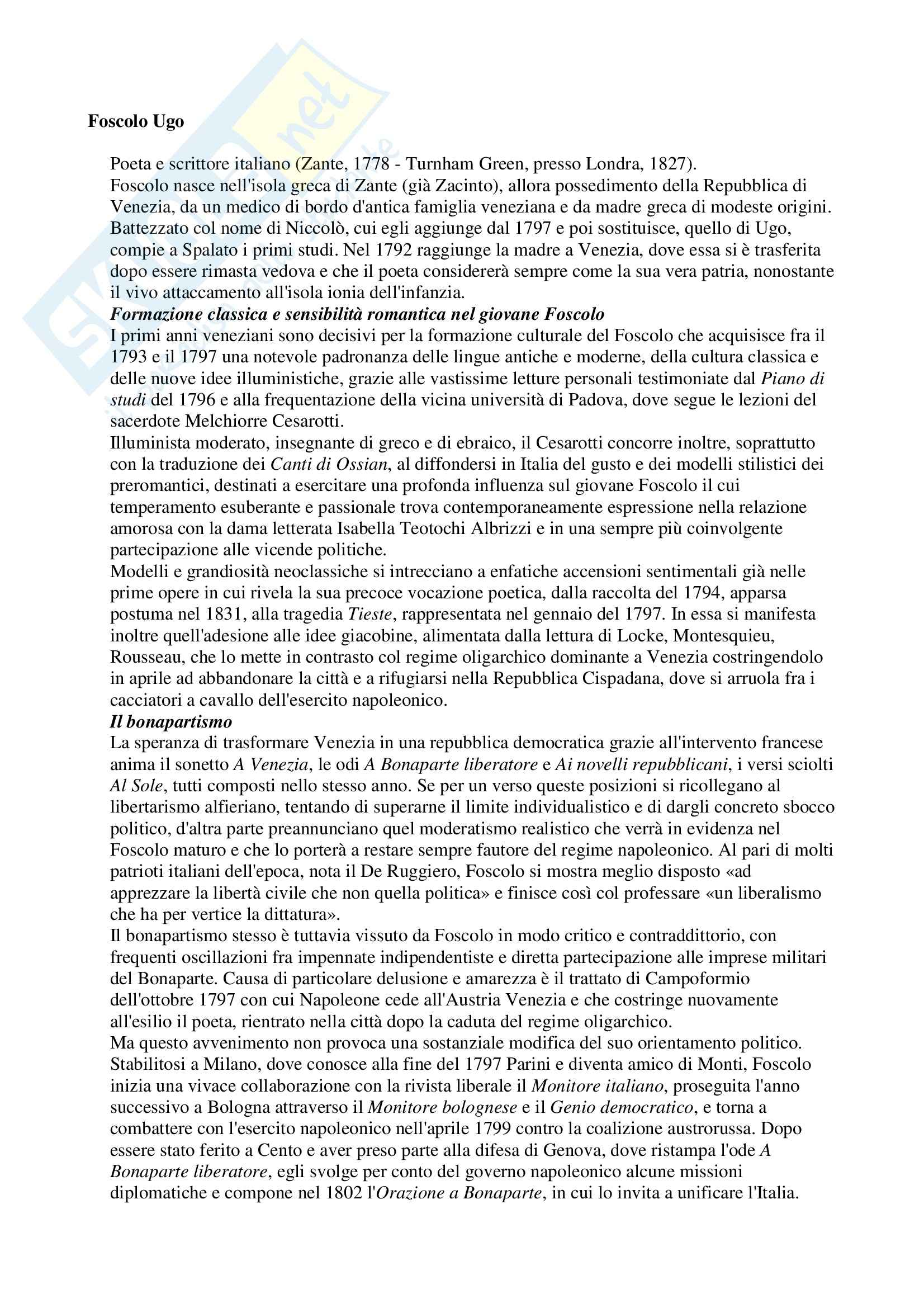 Letteratura italiana - Ugo Foscolo