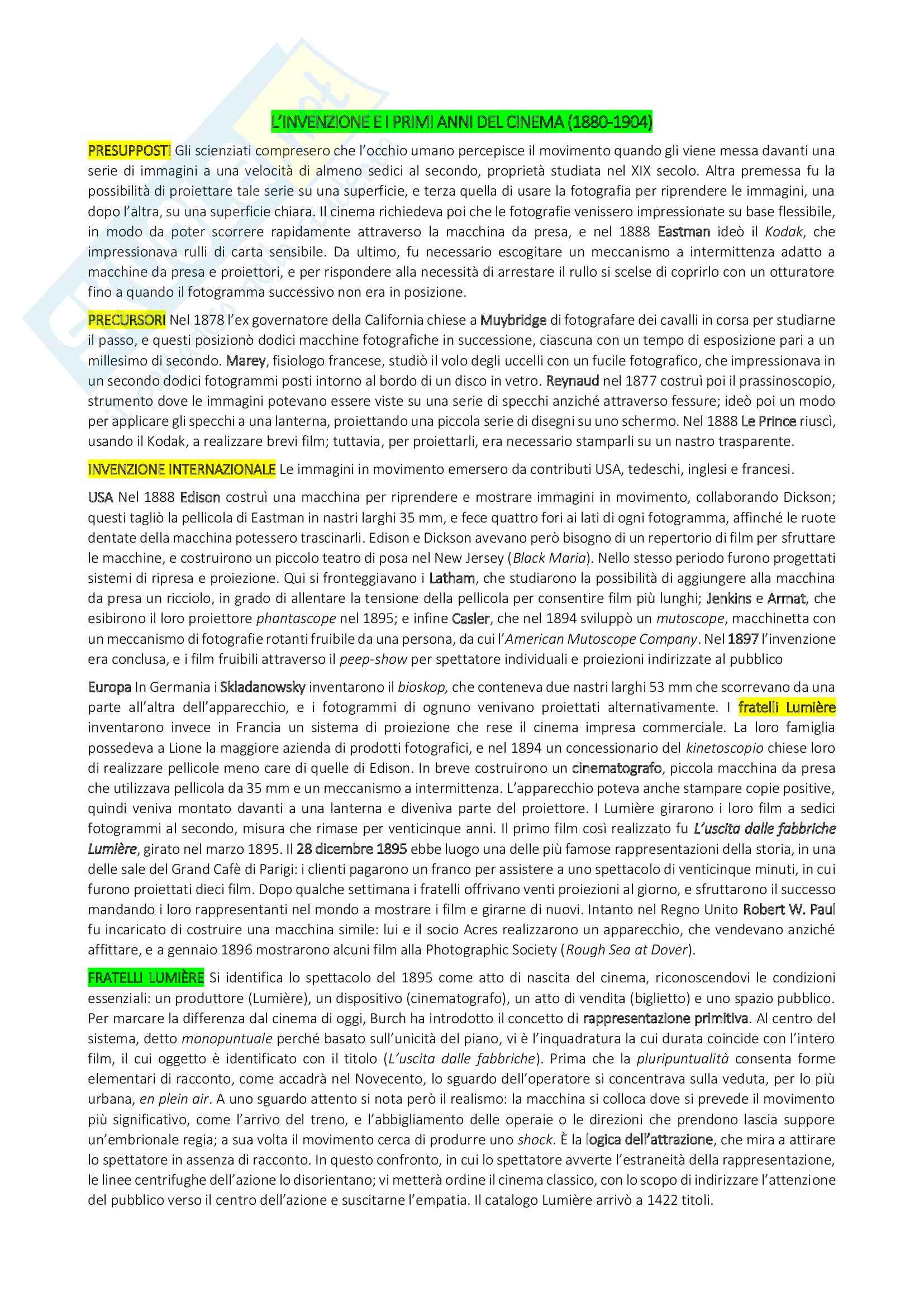 Riassunto Storia del cinema, prof. Bruni, libro consigliato Storia del cinema, un'introduzione di Thompson, Bordwell, Bruni