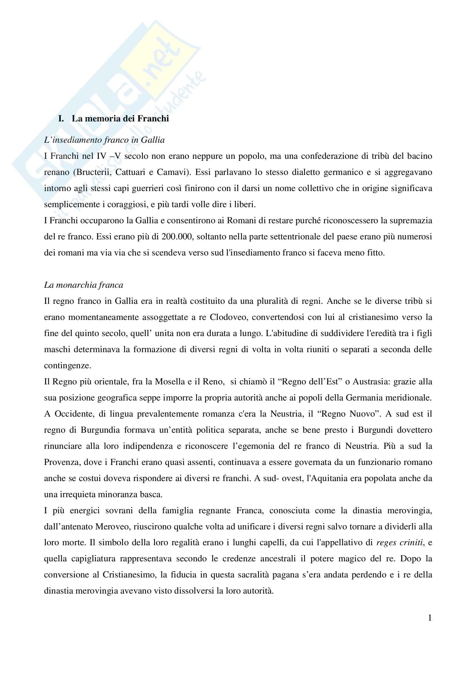 Riassunto esame Storia Medievale Carlo Magno, prof. Comba, libro consigliato Un padre dell'Europa, Barbero