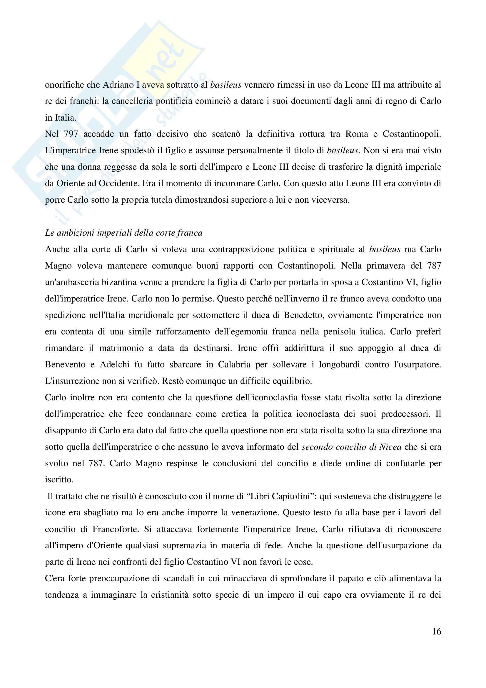 Riassunto esame Storia Medievale Carlo Magno, prof. Comba, libro consigliato Un padre dell'Europa, Barbero Pag. 16