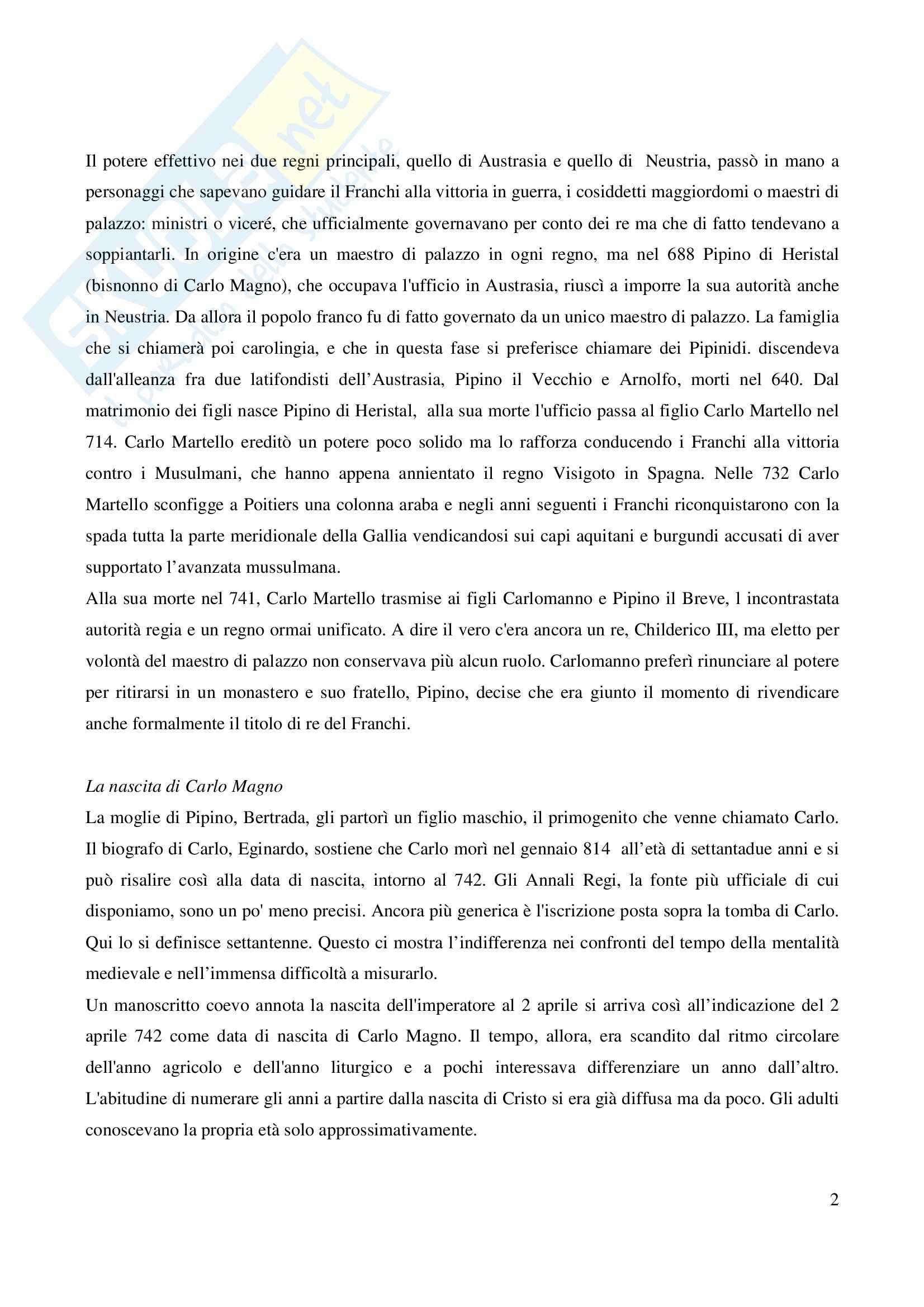 Riassunto esame Storia Medievale Carlo Magno, prof. Comba, libro consigliato Un padre dell'Europa, Barbero Pag. 2
