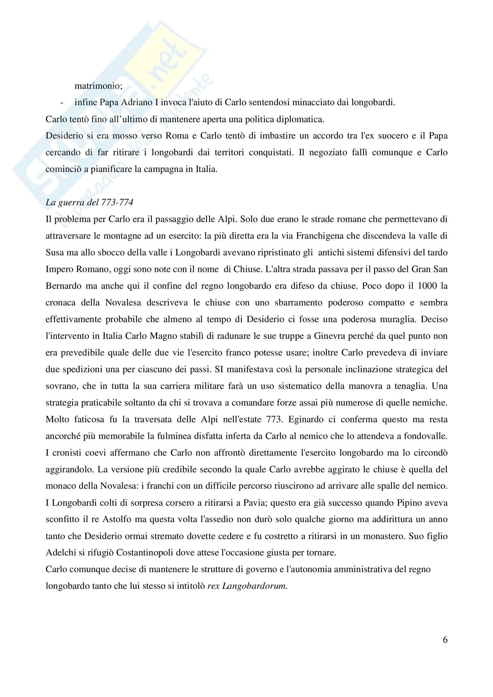 Riassunto esame Storia Medievale Carlo Magno, prof. Comba, libro consigliato Un padre dell'Europa, Barbero Pag. 6