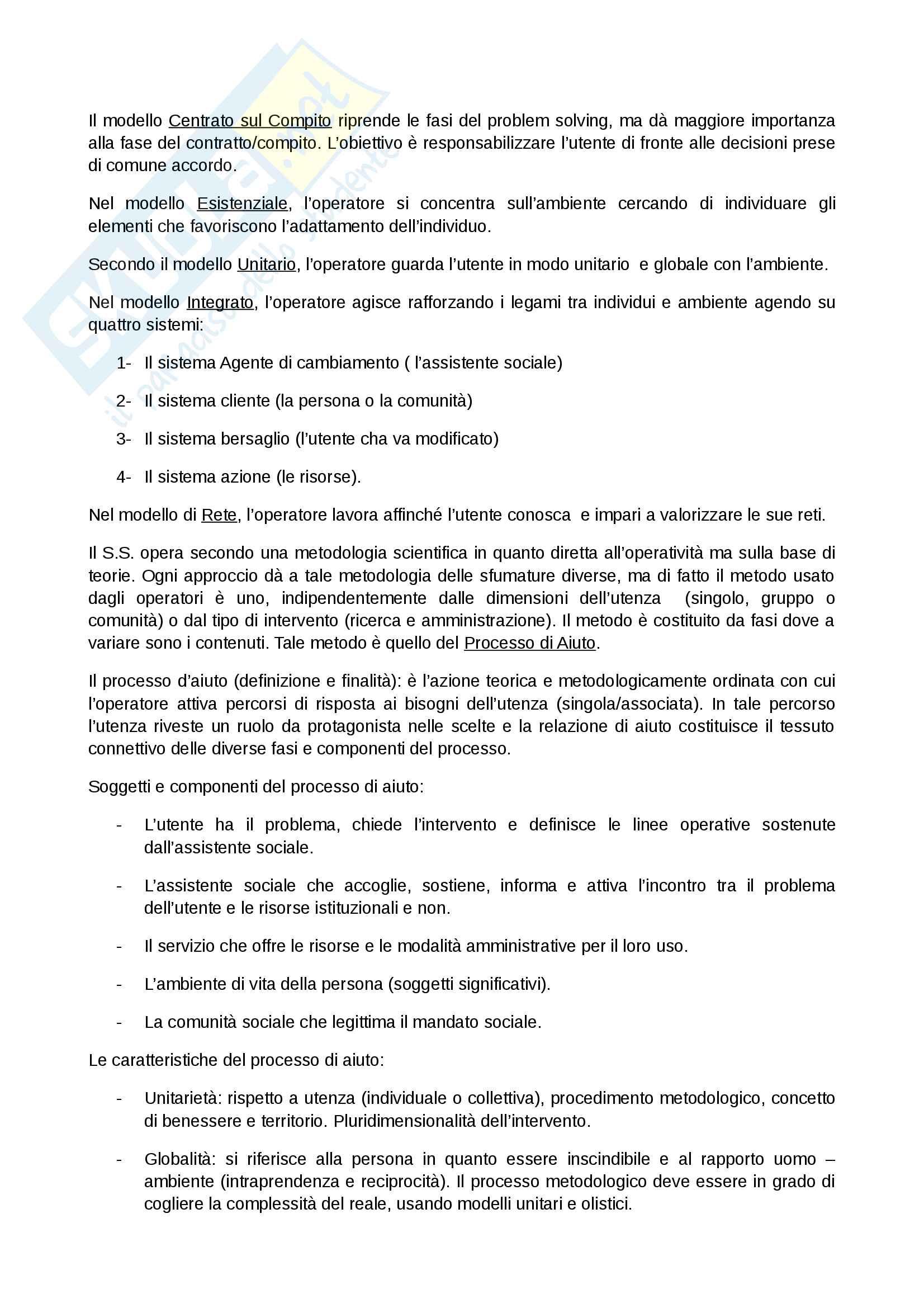 Lavoro sul caso processo di aiuto documentazione e strumenti, abilitazione assistente sociale Pag. 2