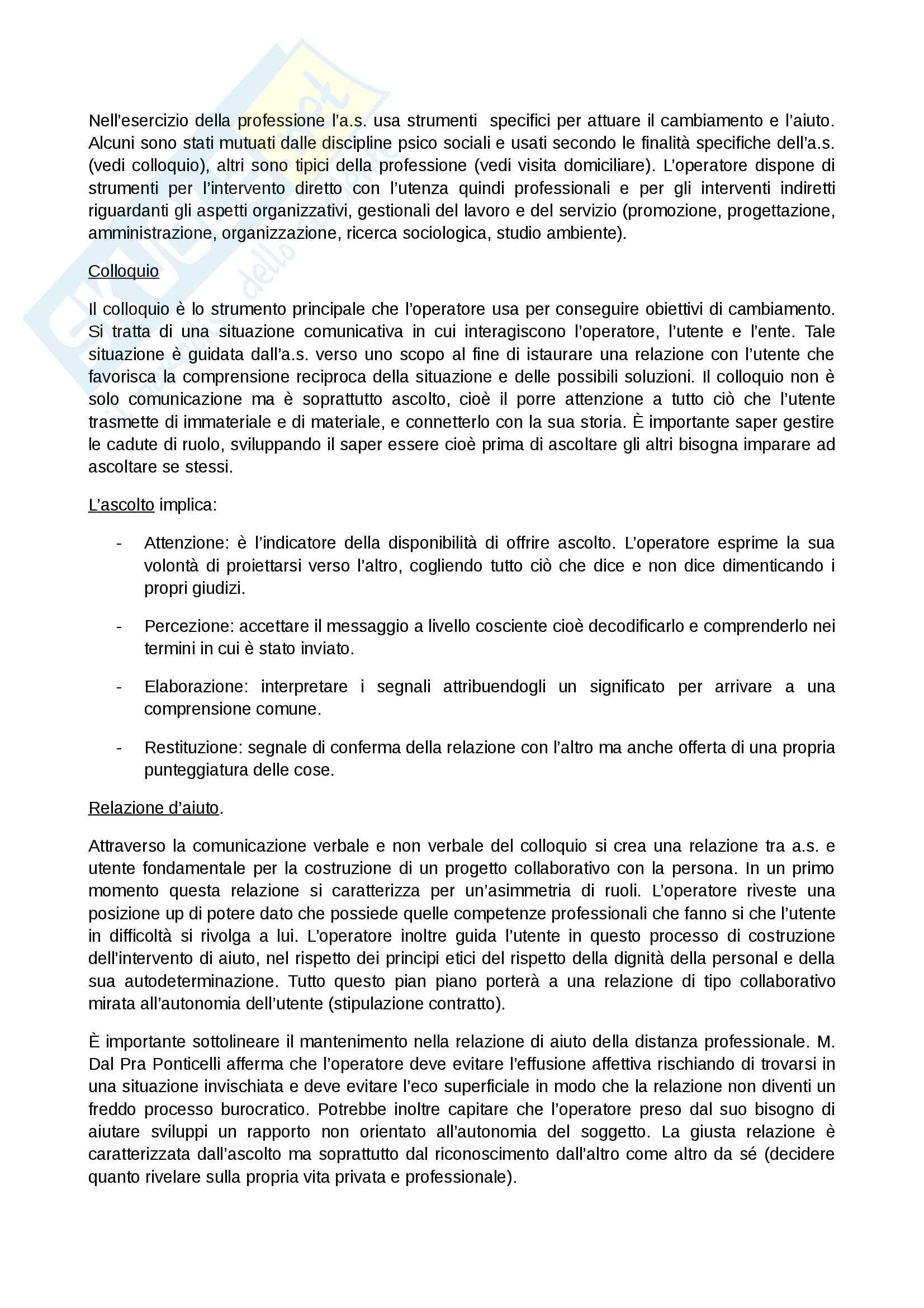 Lavoro sul caso processo di aiuto documentazione e strumenti, abilitazione assistente sociale Pag. 6