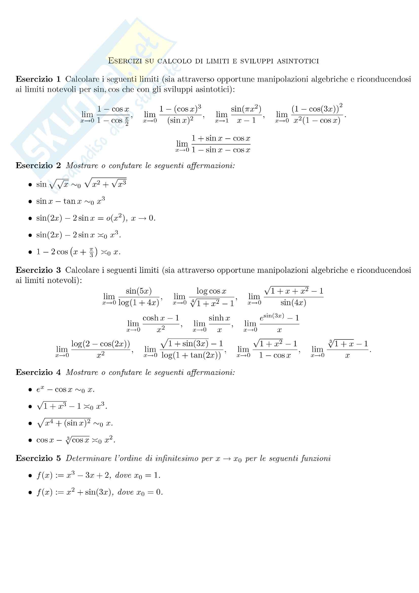 Analisi matematica I - limiti e sviluppi asintotici (1)