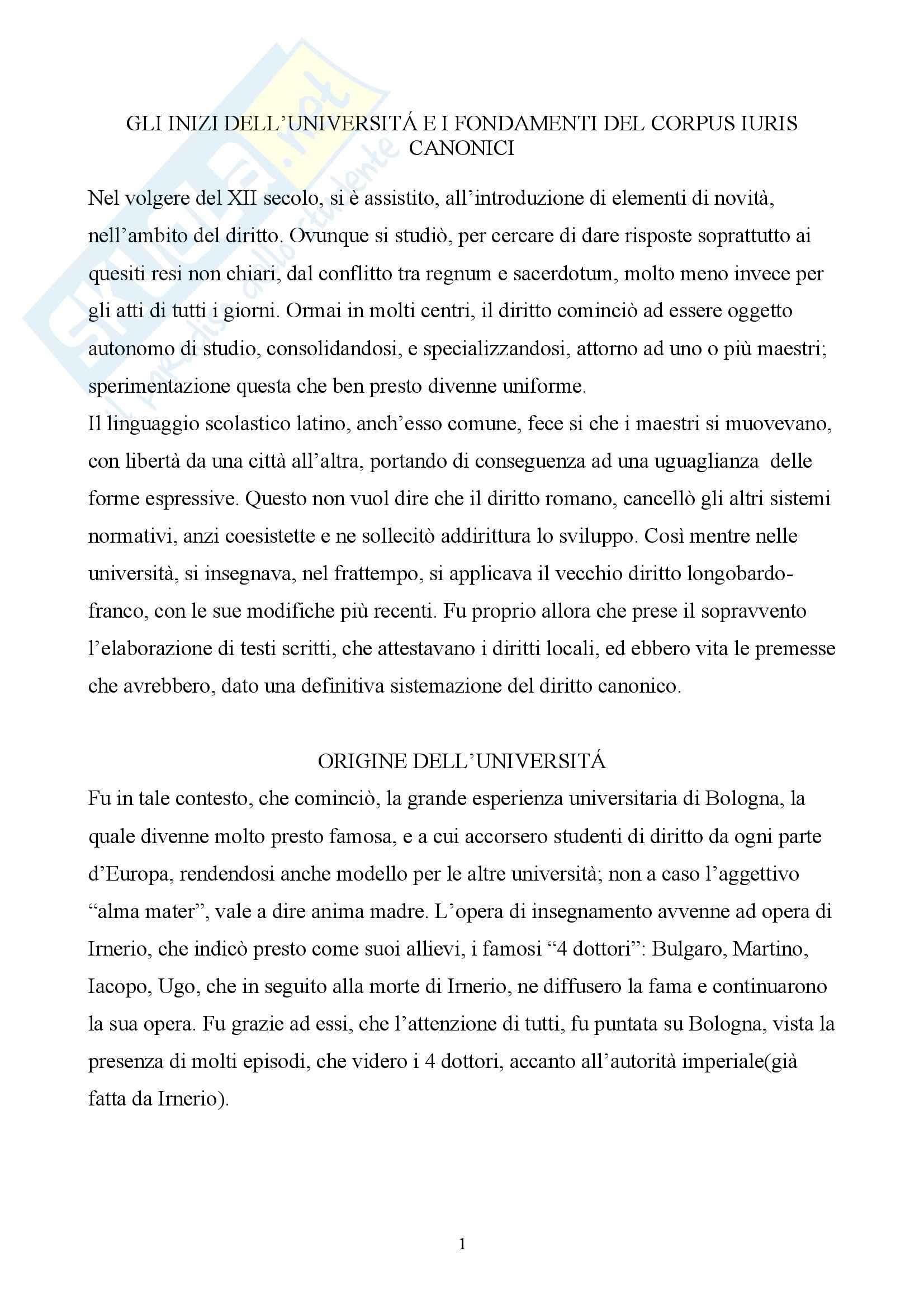 Storia del diritto italiano - Università e fondamenti del Corpus Iuris