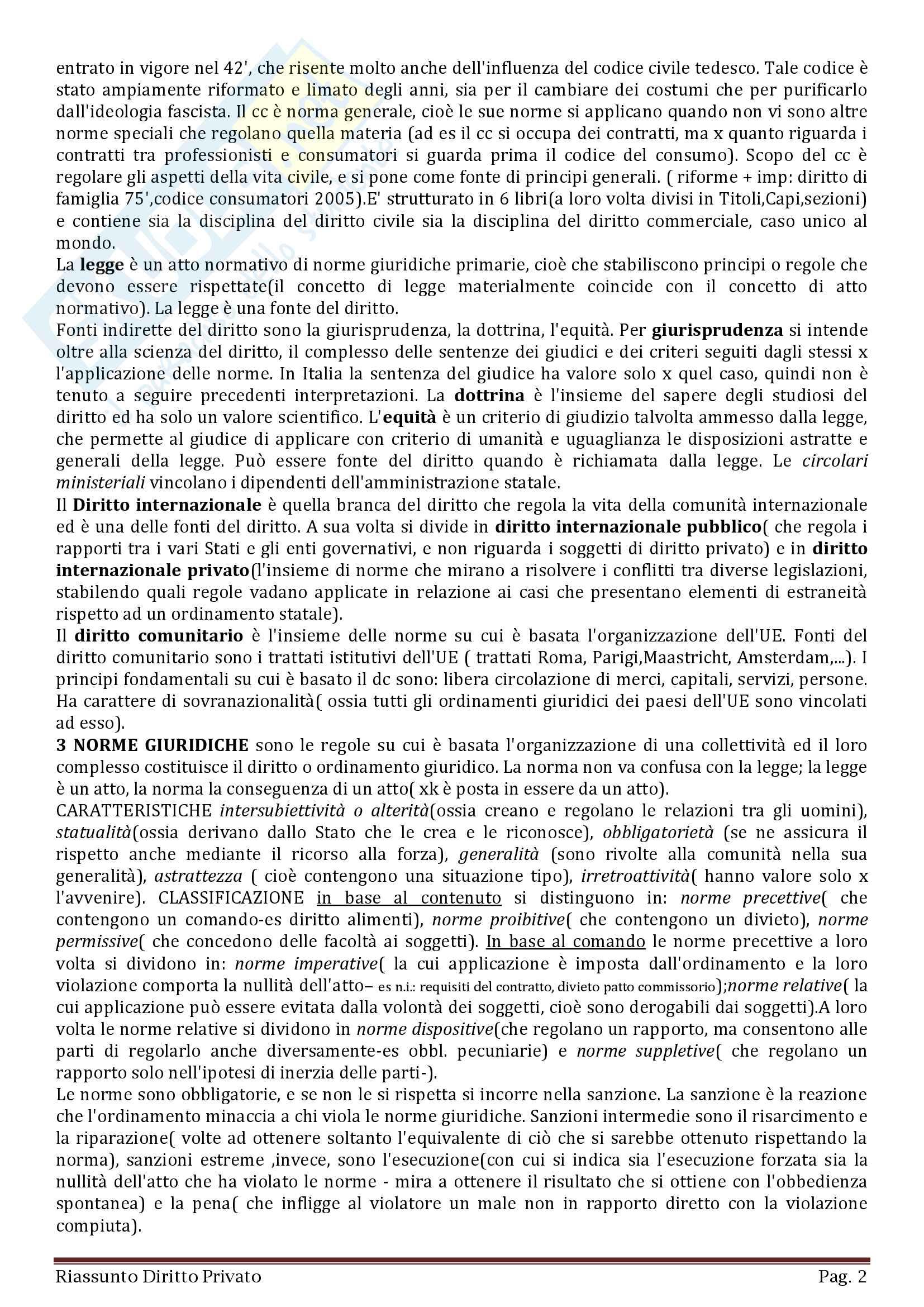 Diritto privato in 93 pagine, Appunti completi, chiari e schematici Pag. 2