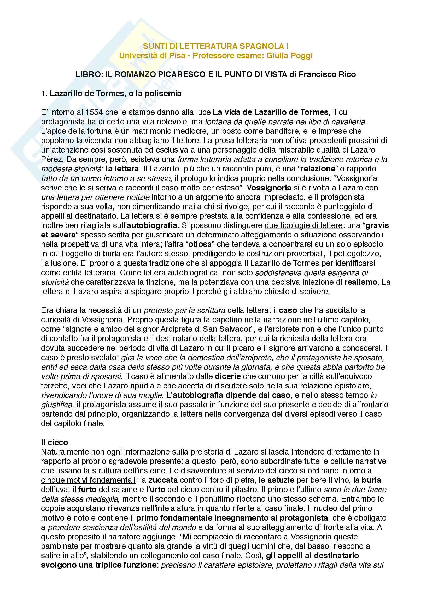 Riassunto esame Letteratura Spagnola, prof. Poggi Cappelli, libro consigliato Il romanzo picaresco e il punto di vista, Francesco Rico