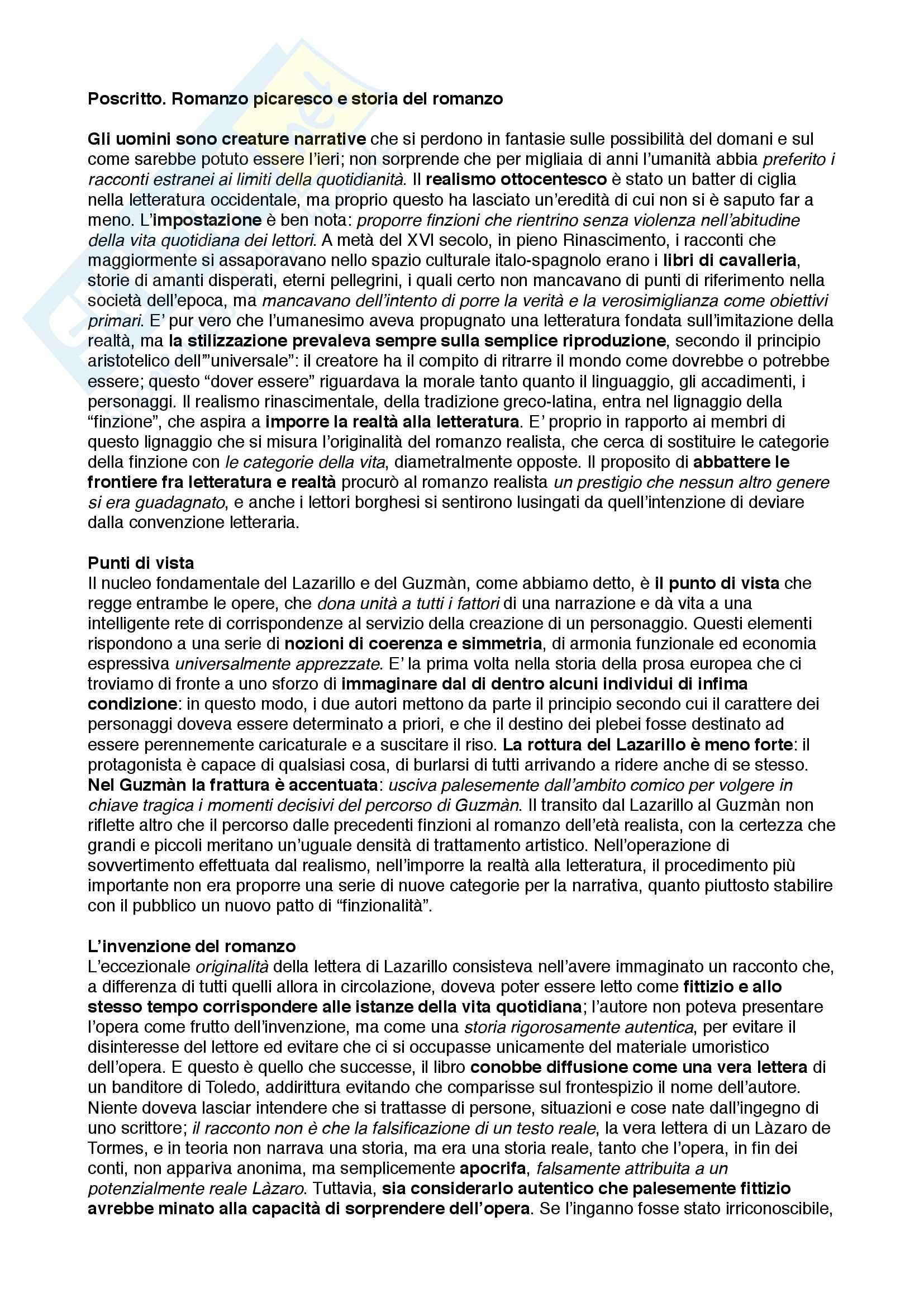 Riassunto esame Letteratura Spagnola, prof. Poggi Cappelli, libro consigliato Il romanzo picaresco e il punto di vista, Francesco Rico Pag. 11
