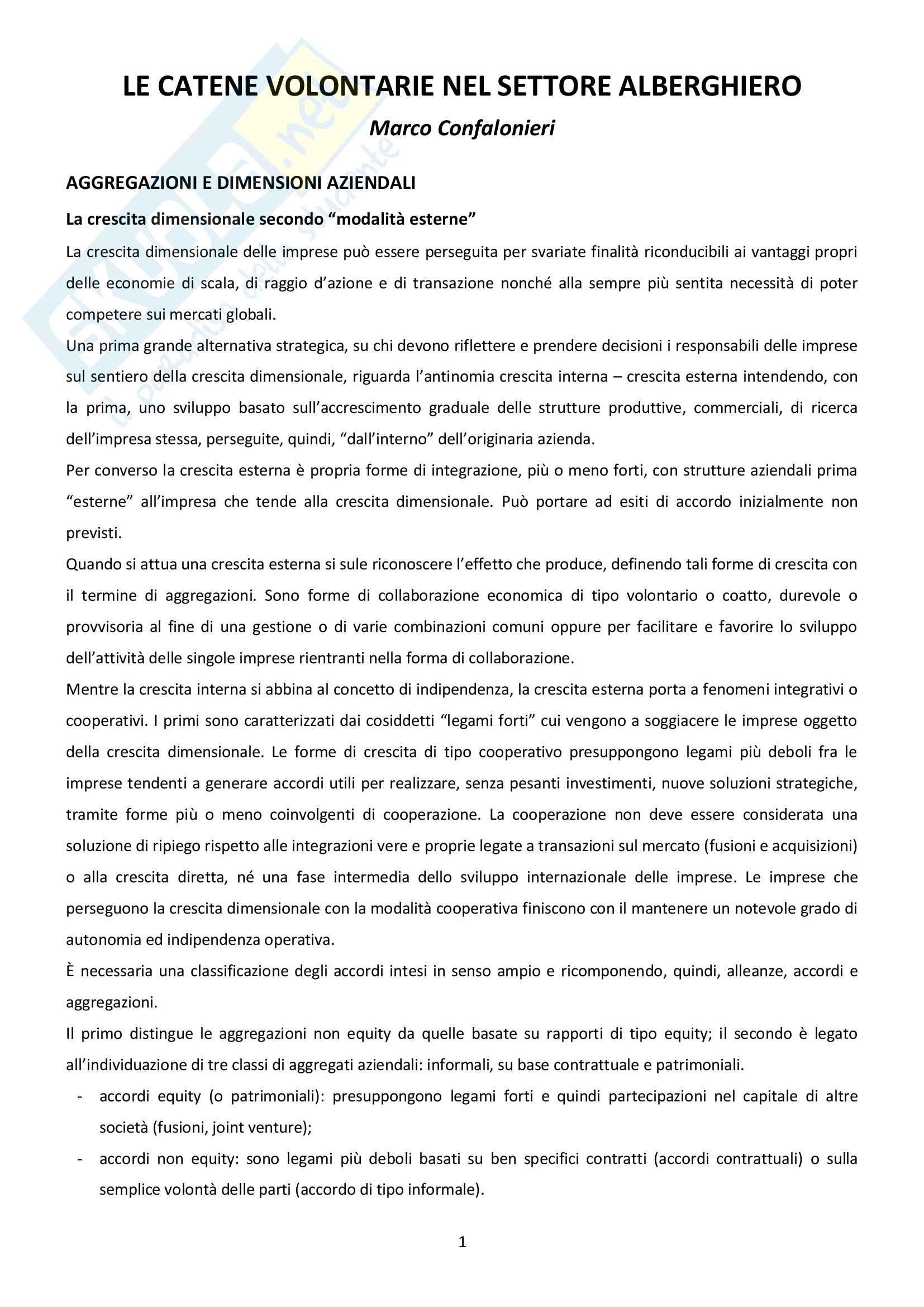 """Riassunto esame Economia e gestione delle imprese turistiche, prof. Confalonieri, libro consigliato """"Le catene volontarie nel settore alberghiero"""""""