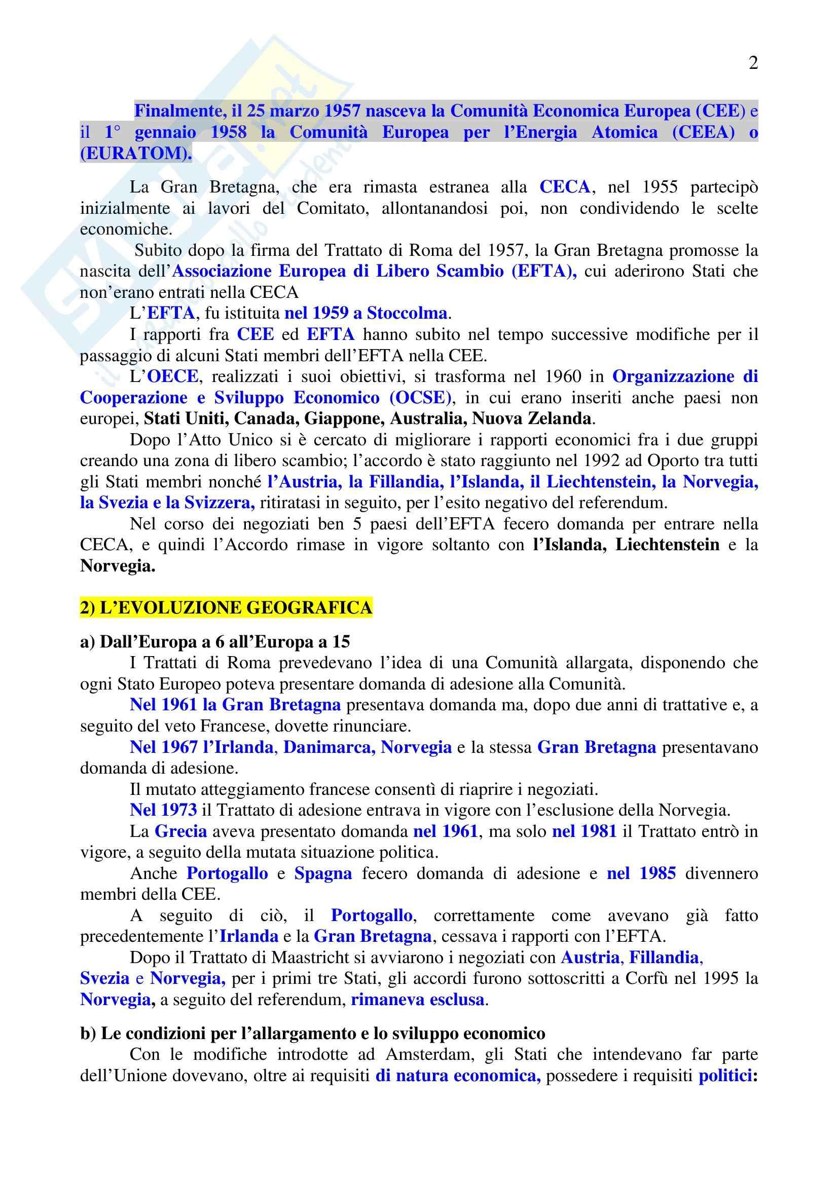 Riassunto esame Diritto dell'Unione Europea, prof. Sinagra, libro consigliato Istituzioni di Diritto dell'Unione Europea, Zanghì Pag. 2
