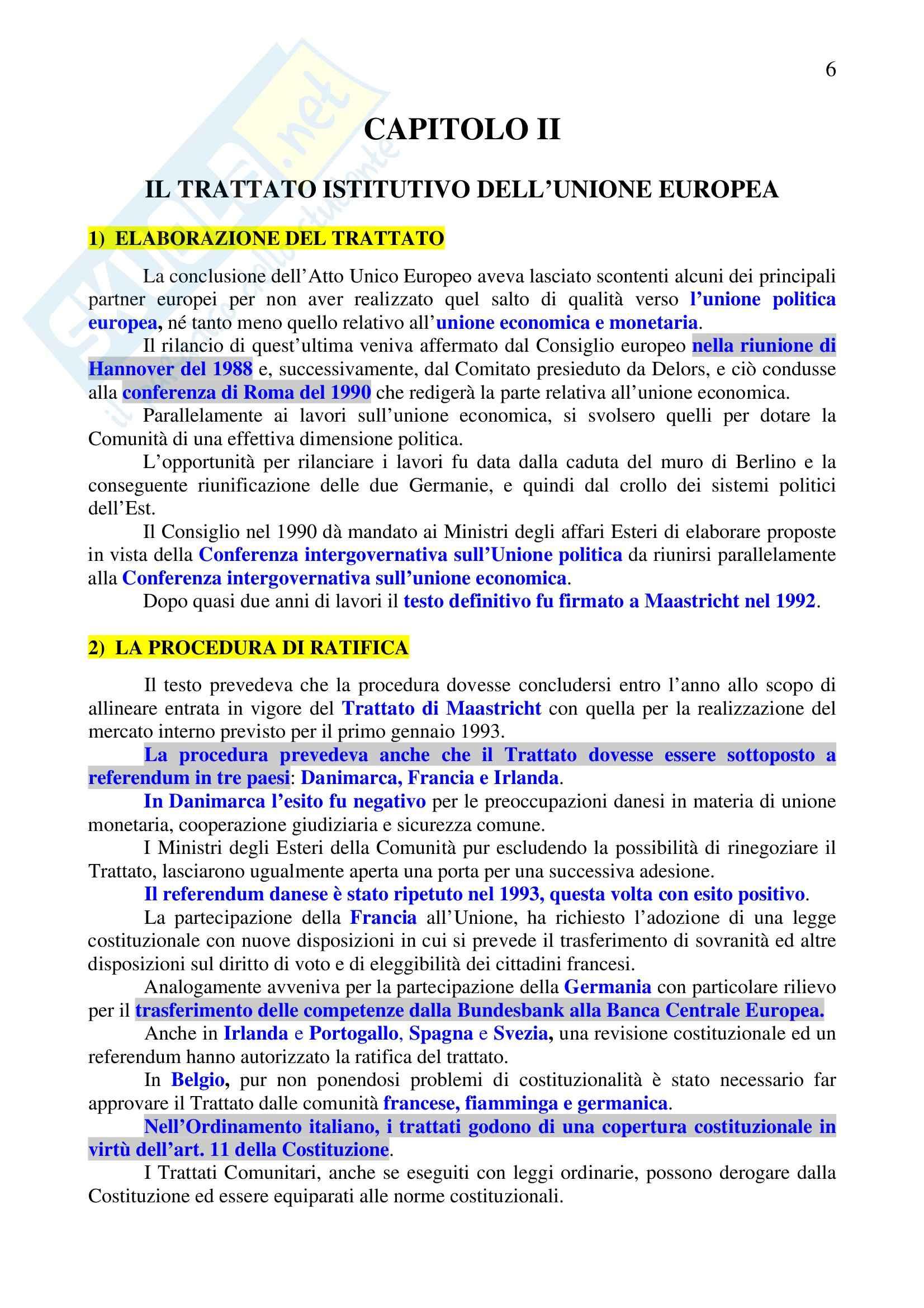 Riassunto esame Diritto dell'Unione Europea, prof. Sinagra, libro consigliato Istituzioni di Diritto dell'Unione Europea, Zanghì Pag. 6