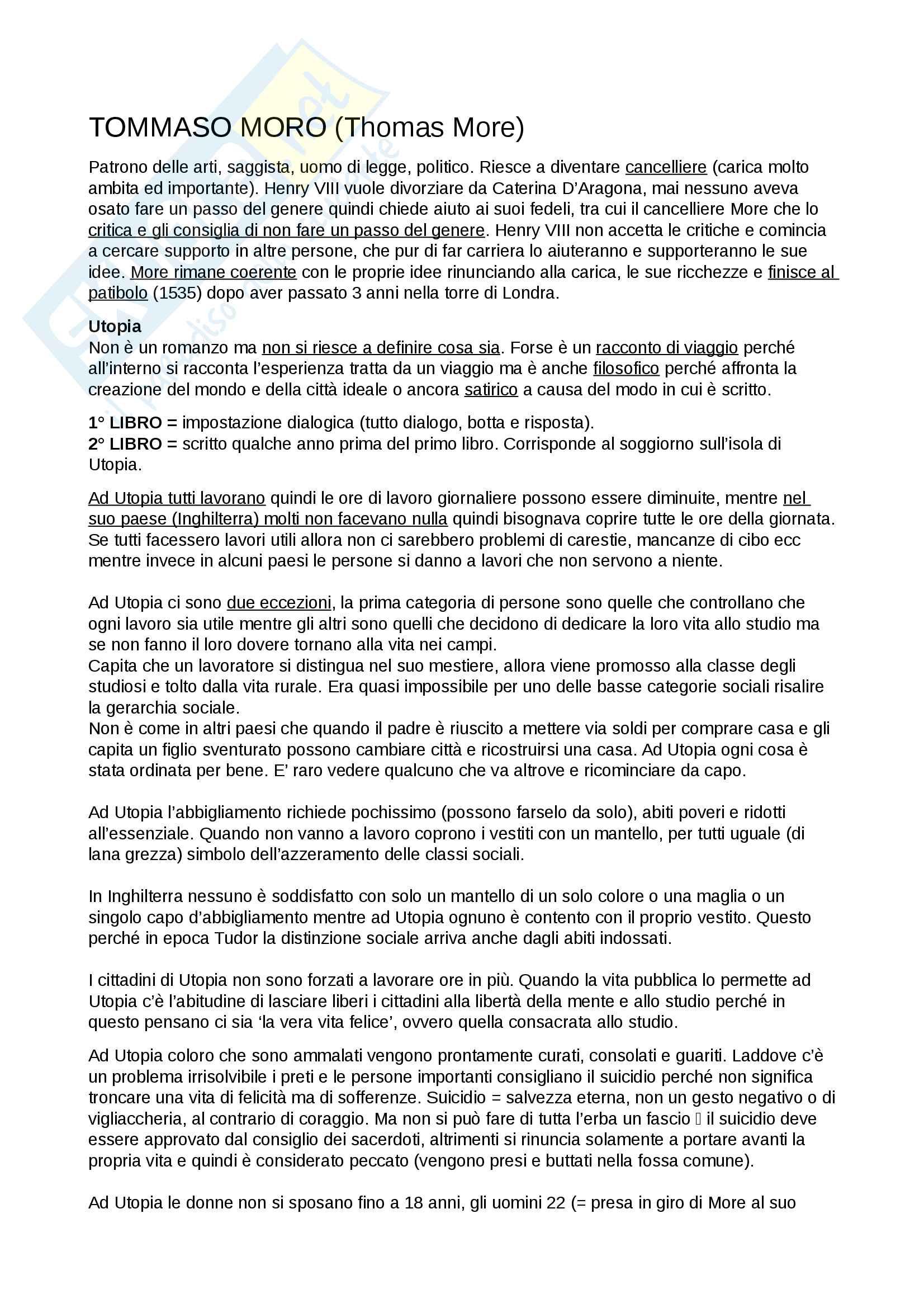 Tommaso Moro/Thomas More + Utopia