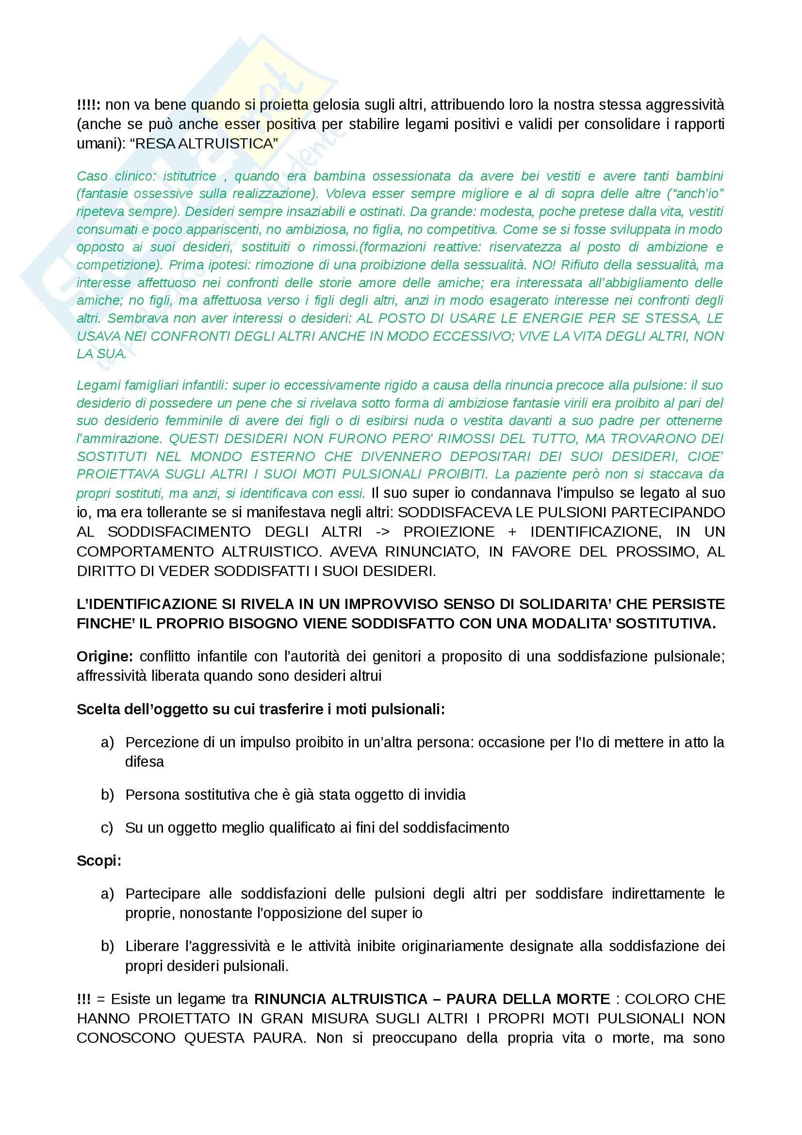 Riassunto esame Psicologia clinica, prof. Ugazio, libro consigliato L'Io e i meccanismi di difesa,Freud Pag. 11