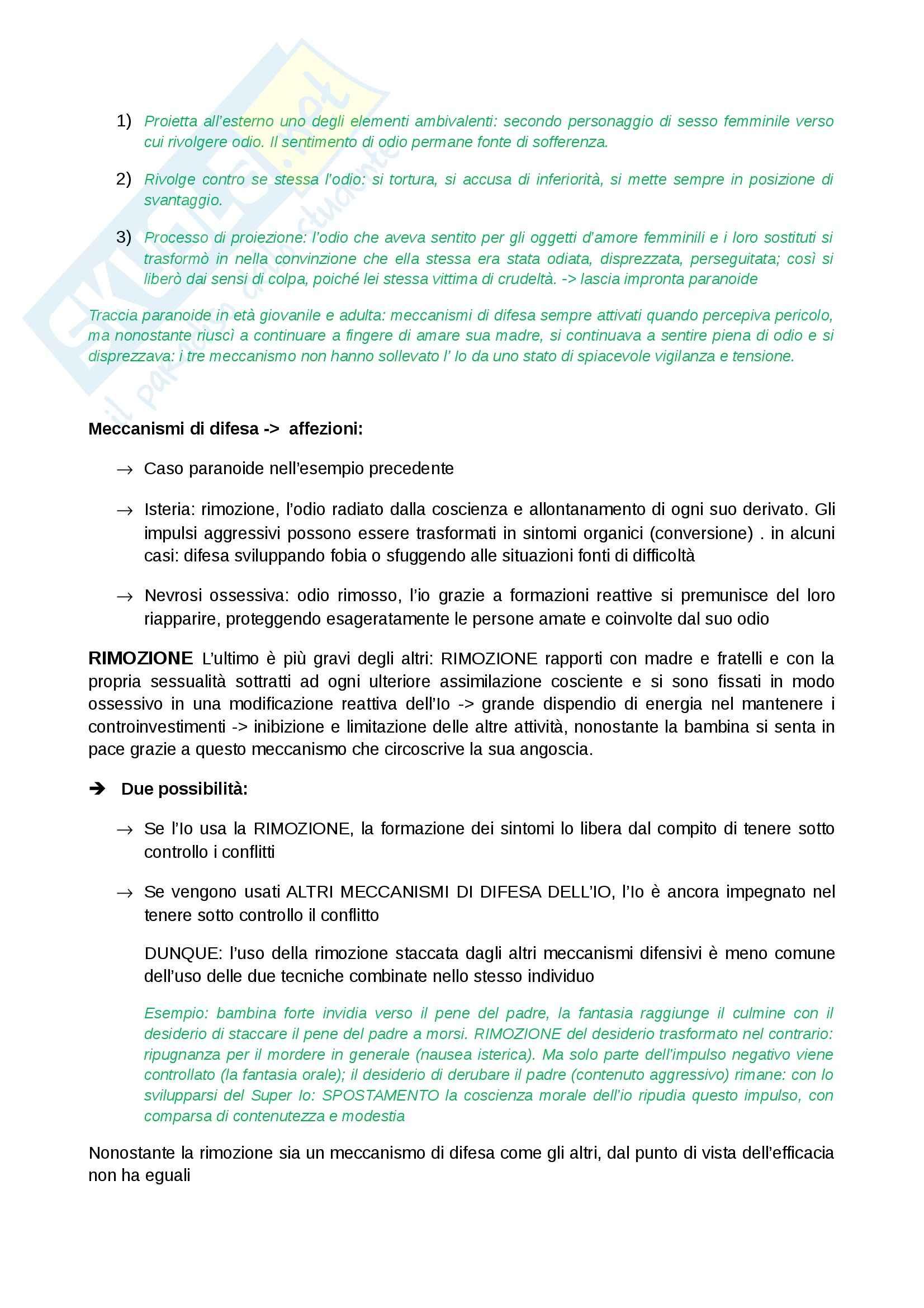Riassunto esame Psicologia clinica, prof. Ugazio, libro consigliato L'Io e i meccanismi di difesa,Freud Pag. 2