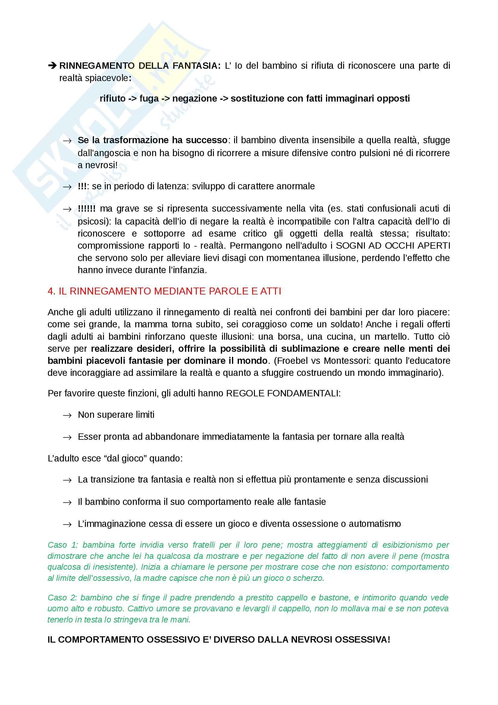 Riassunto esame Psicologia clinica, prof. Ugazio, libro consigliato L'Io e i meccanismi di difesa,Freud Pag. 6