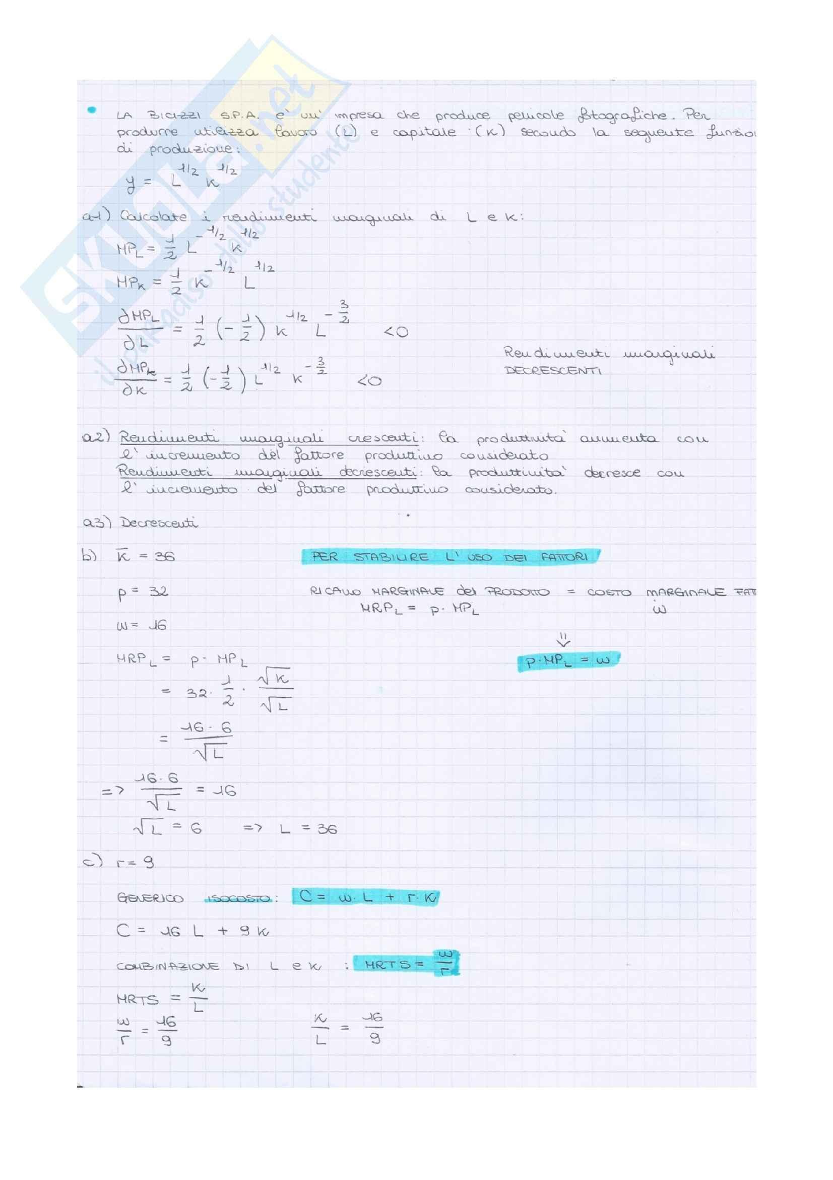 Microeconomia - Esercizi Pag. 2
