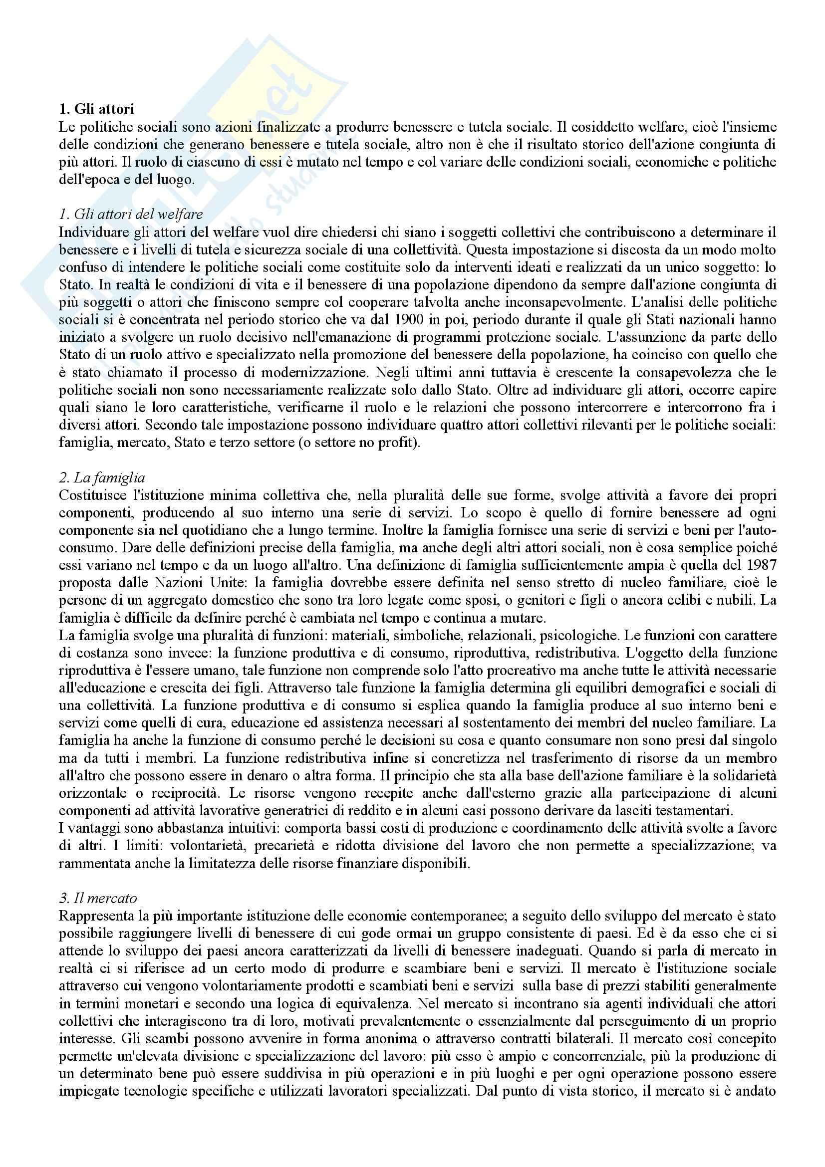 Riassunto esame Politica Sociale, prof. Bartholini, libro consigliato Manuale di Politica Sociale, Borgaza, Fazzi