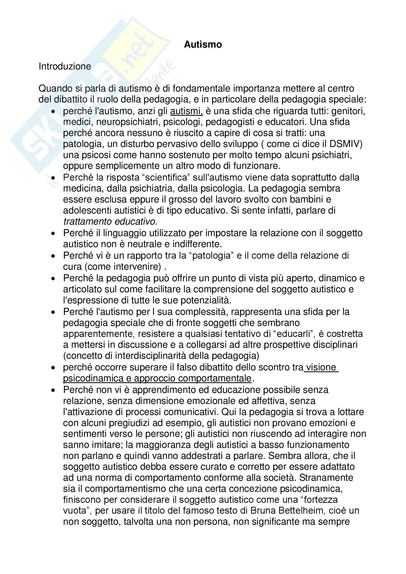 """Riassunto esame Pedagogia speciale, della marginalità e della devianza minorile, prof. Smeriglio Donatello, libro consigliato """"Autismo. Una sfida per la pedagogia speciale"""", Autore """"Goussot Alain"""""""