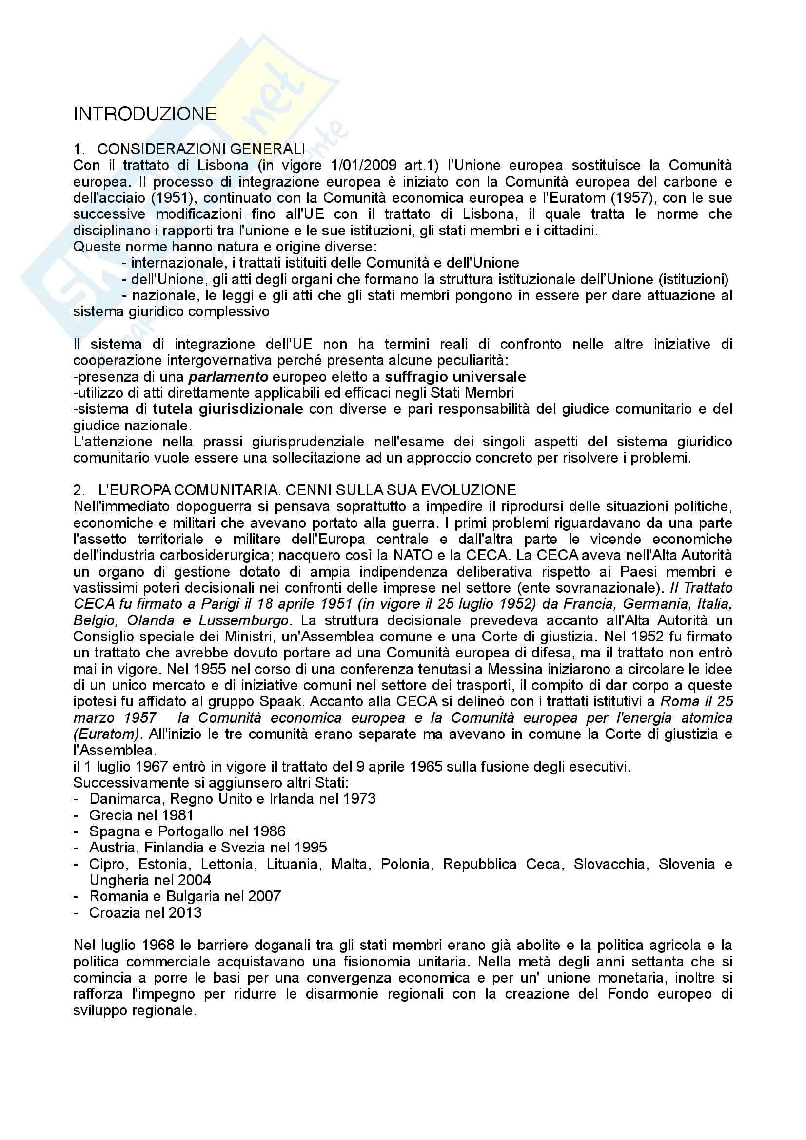 Riassunto esame Diritto, testo consigliato Diritto dell'Unione Europea, Tesauro: parte 3