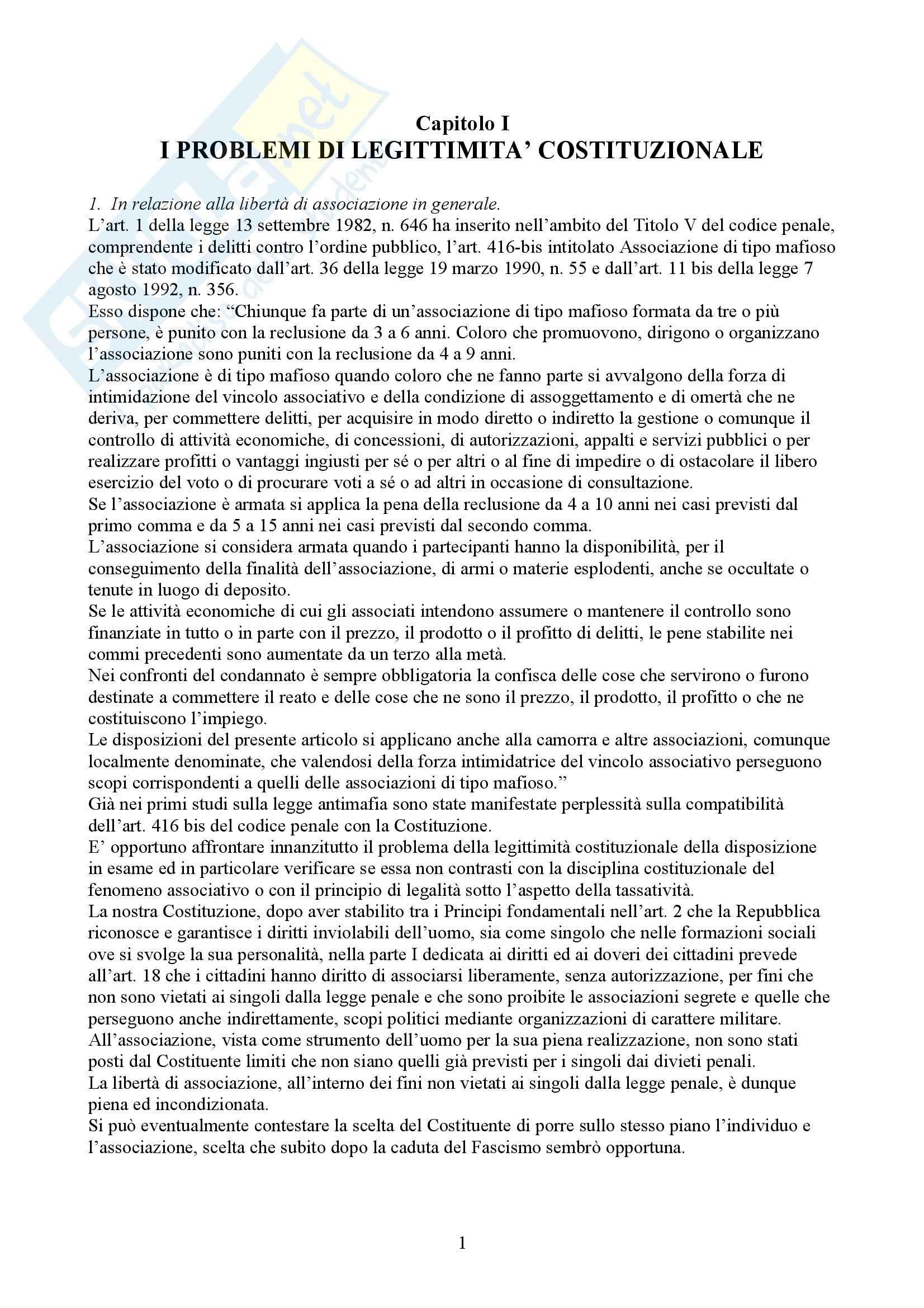 Riassunto esame Diritto Penale, prof. Spagnolo, libro consigliato Associazioni di Tipo Mafioso