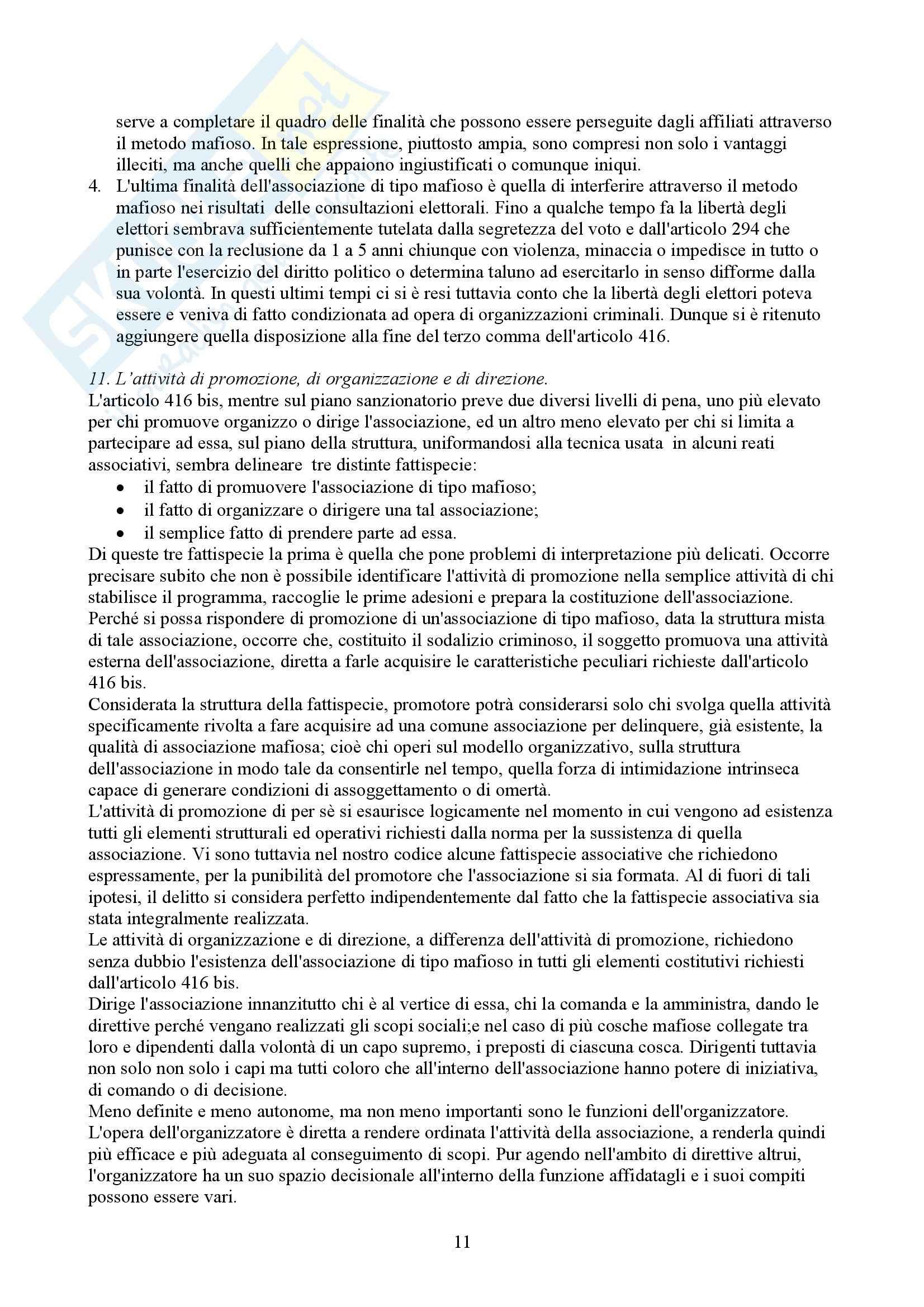 Riassunto esame Diritto Penale, prof. Spagnolo, libro consigliato Associazioni di Tipo Mafioso Pag. 11