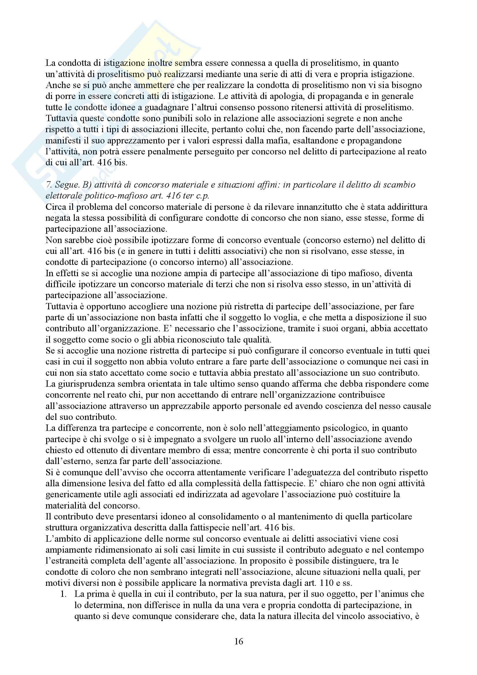 Riassunto esame Diritto Penale, prof. Spagnolo, libro consigliato Associazioni di Tipo Mafioso Pag. 16