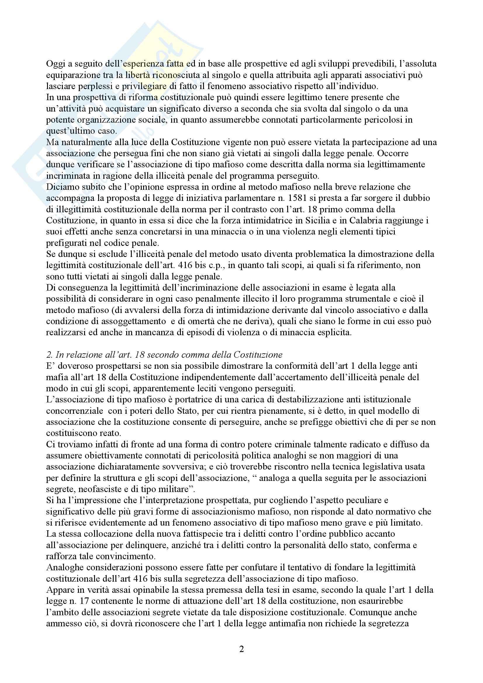 Riassunto esame Diritto Penale, prof. Spagnolo, libro consigliato Associazioni di Tipo Mafioso Pag. 2