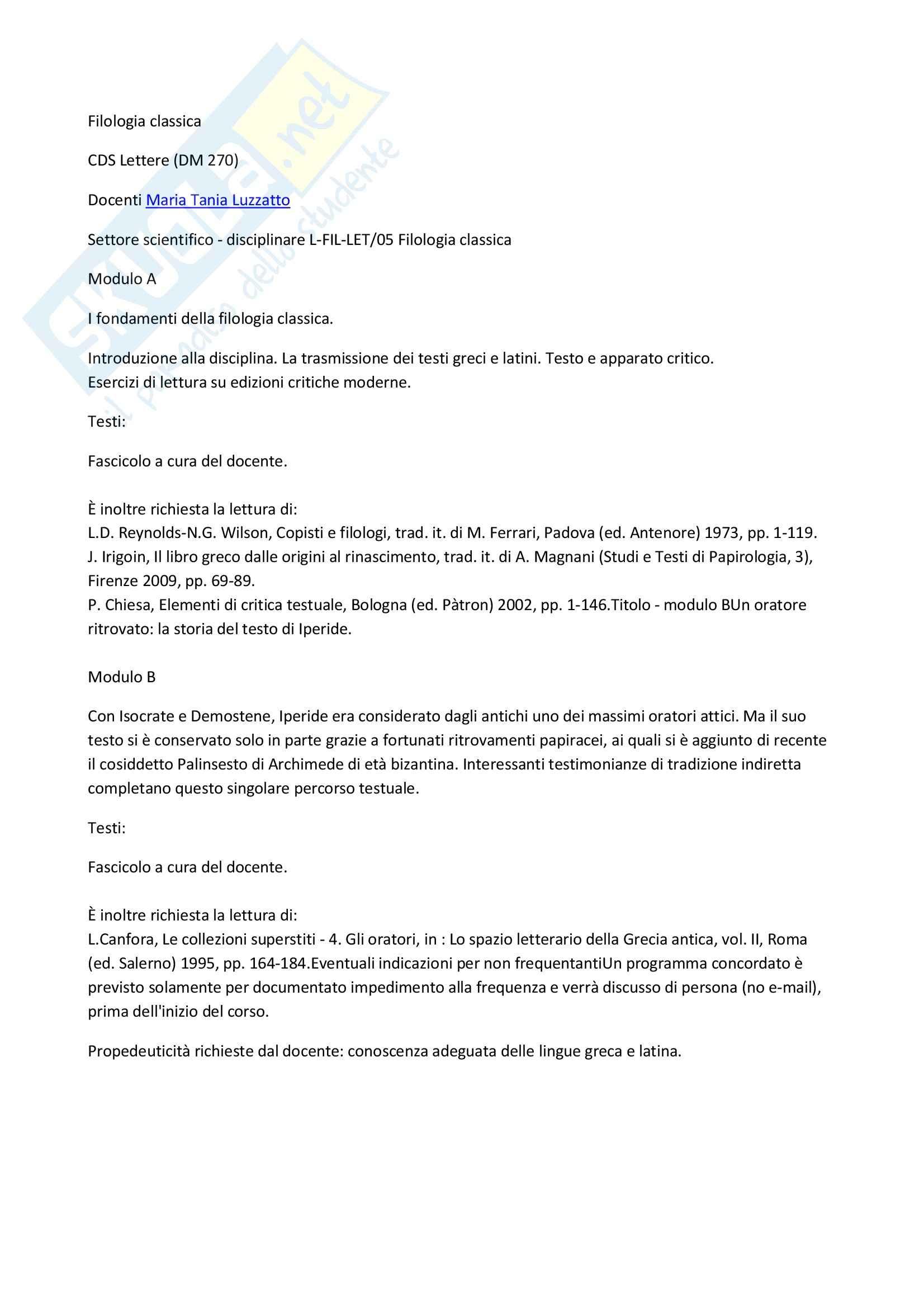 Fondamenti della filologia classica.
