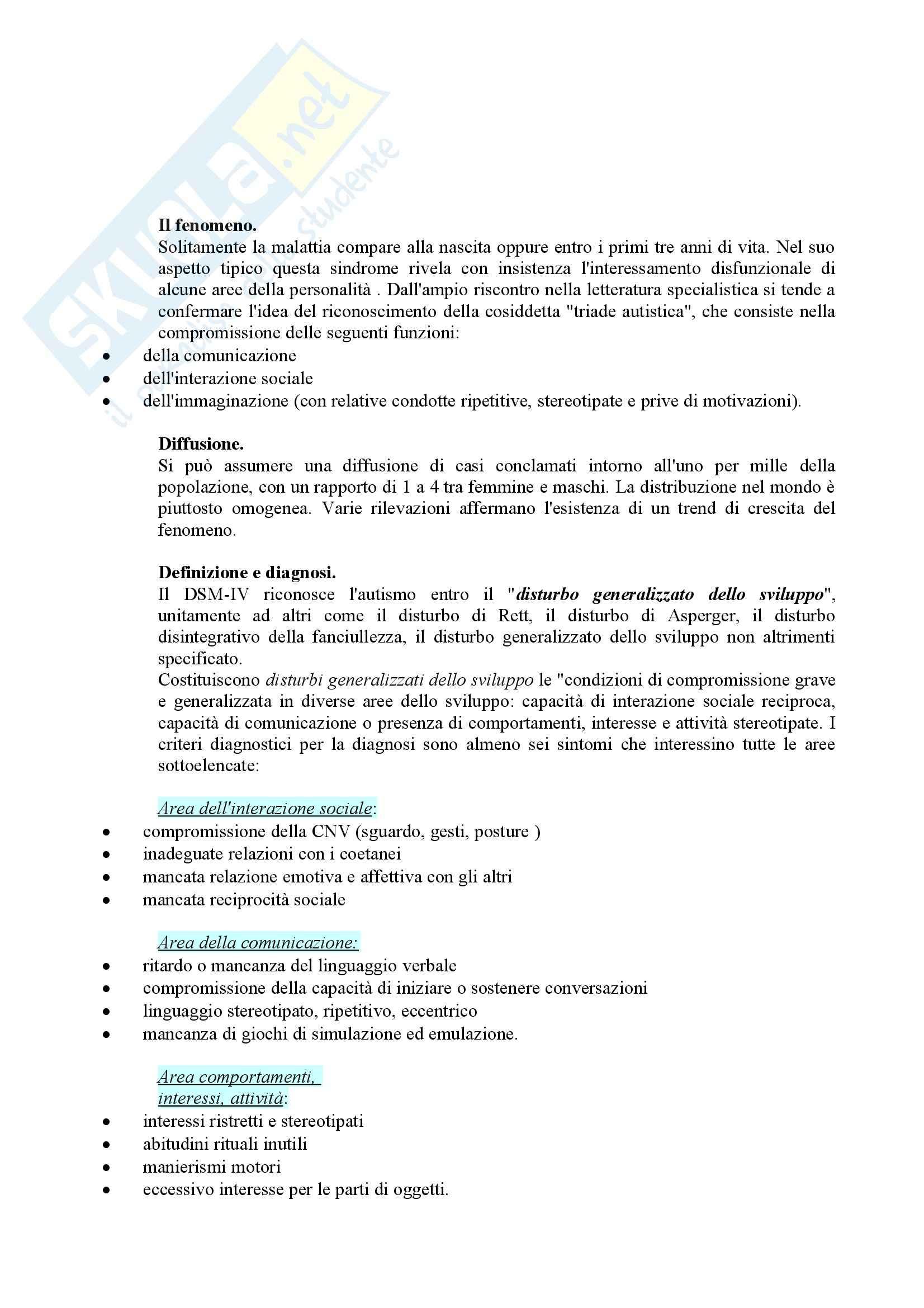Riassunto esame Didattica e Pedagogia Speciale, prof. Muttini, libro consigliato Lavorare con l'Autismo, Crispiano