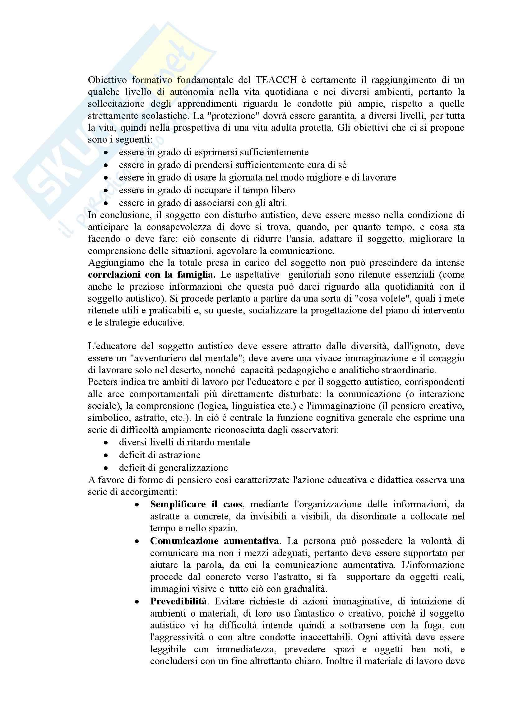 Riassunto esame Didattica e Pedagogia Speciale, prof. Muttini, libro consigliato Lavorare con l'Autismo, Crispiano Pag. 11