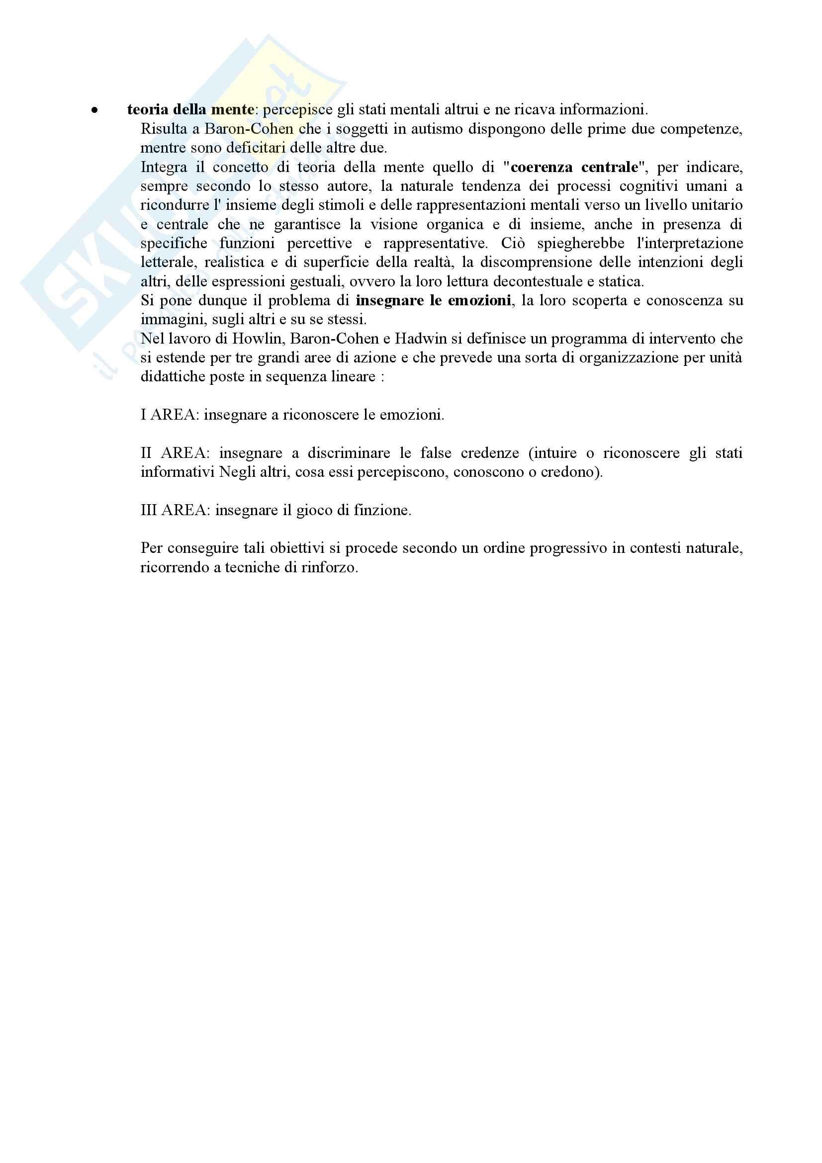 Riassunto esame Didattica e Pedagogia Speciale, prof. Muttini, libro consigliato Lavorare con l'Autismo, Crispiano Pag. 16