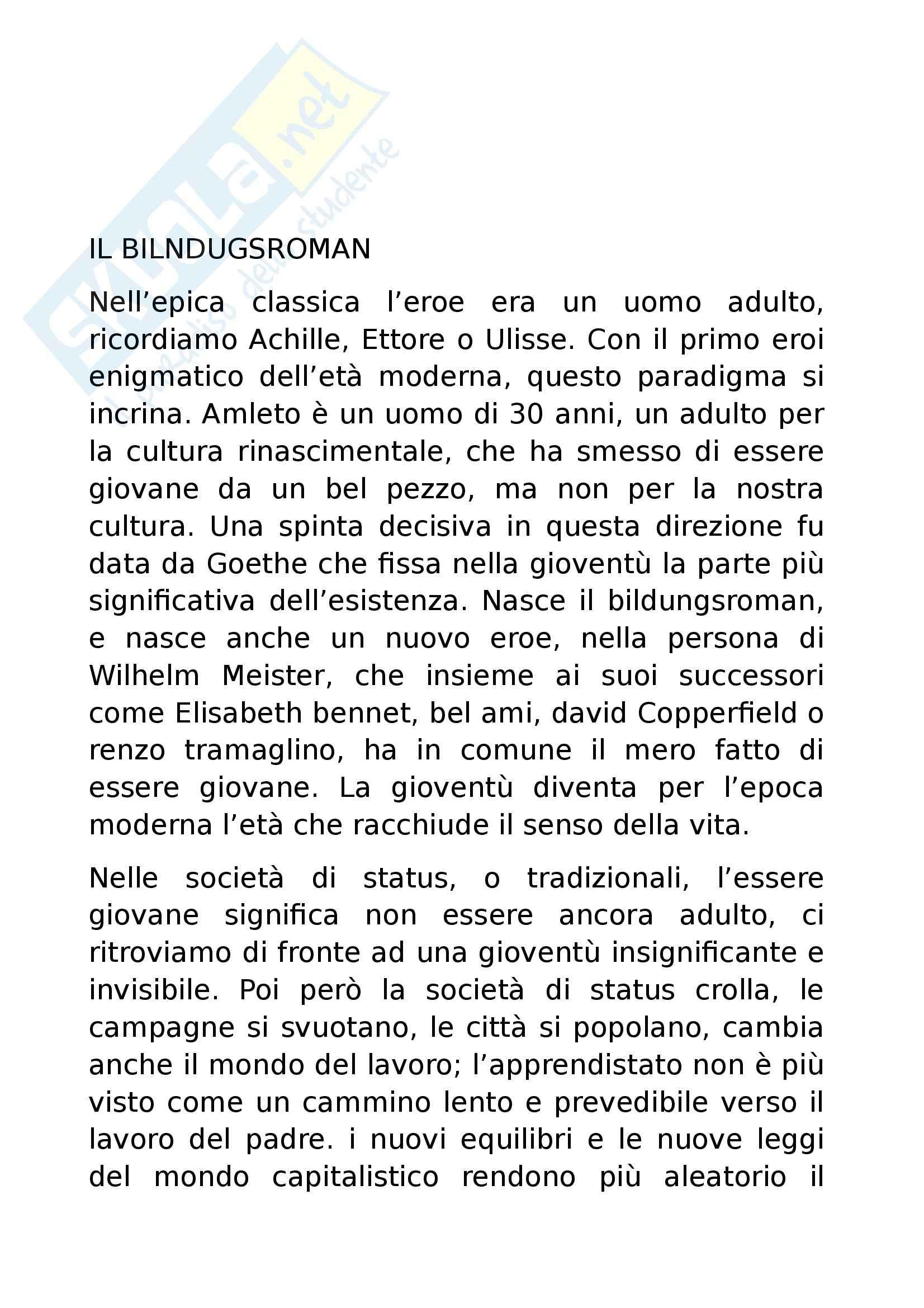 Riassunto esame Letteratura Inglese, prof. Altese, libro consigliato Il Romanzo di Formazione, Moretti