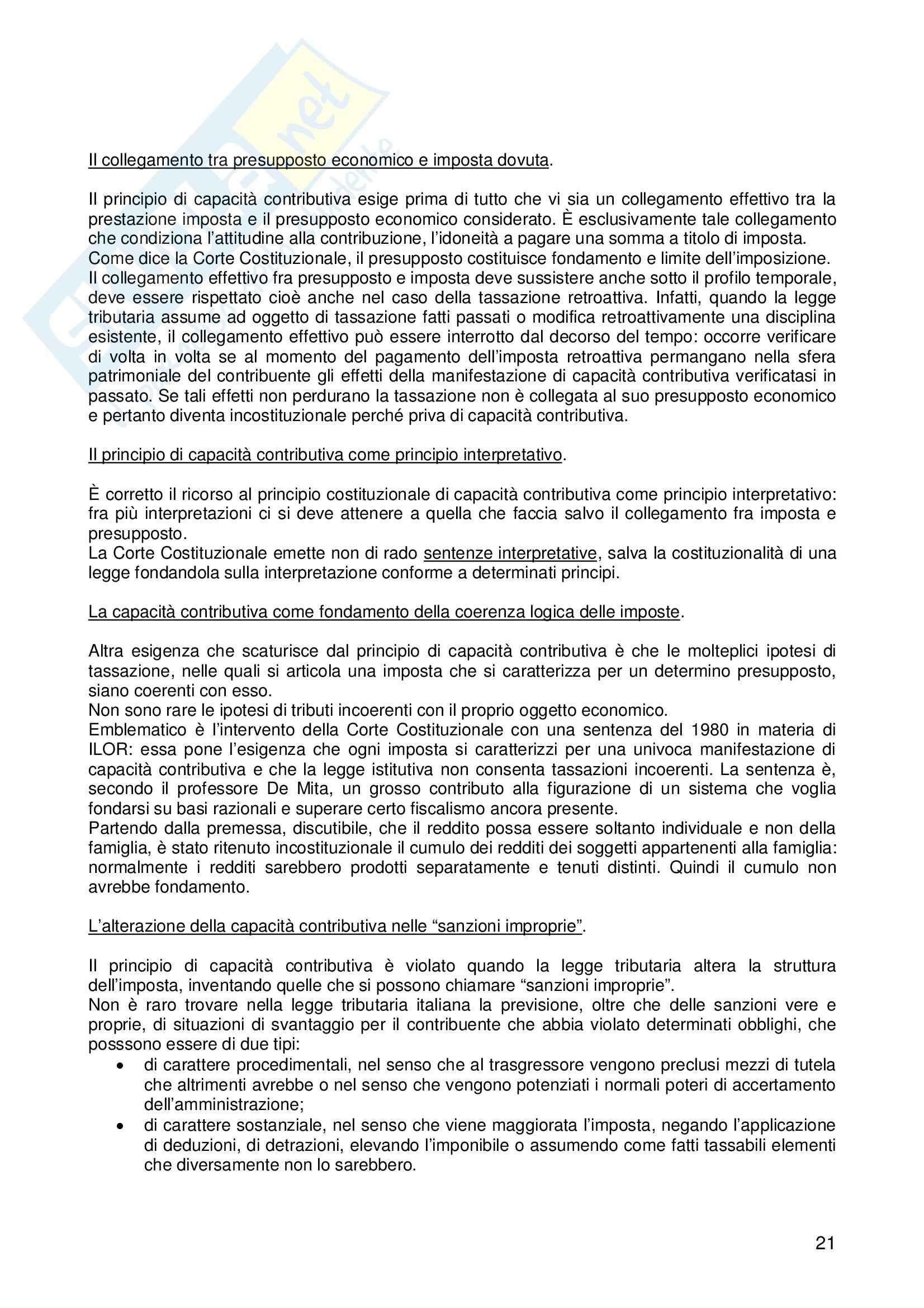 Riassunto esame Diritto, prof. Logozzo, libro consigliato Diritto tributario, De Mita Pag. 21