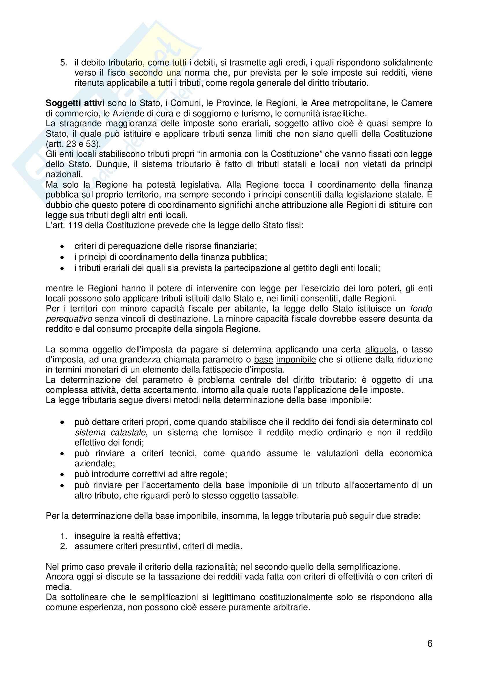 Riassunto esame Diritto, prof. Logozzo, libro consigliato Diritto tributario, De Mita Pag. 6
