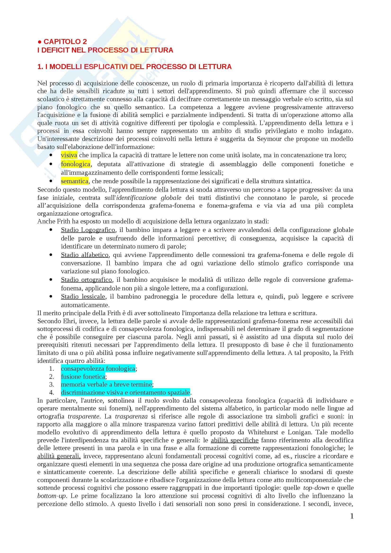 Riassunto esame Psicologia scolastica, prof. Filipello, libro consigliato I disturbi dell apprendimento, Filippello