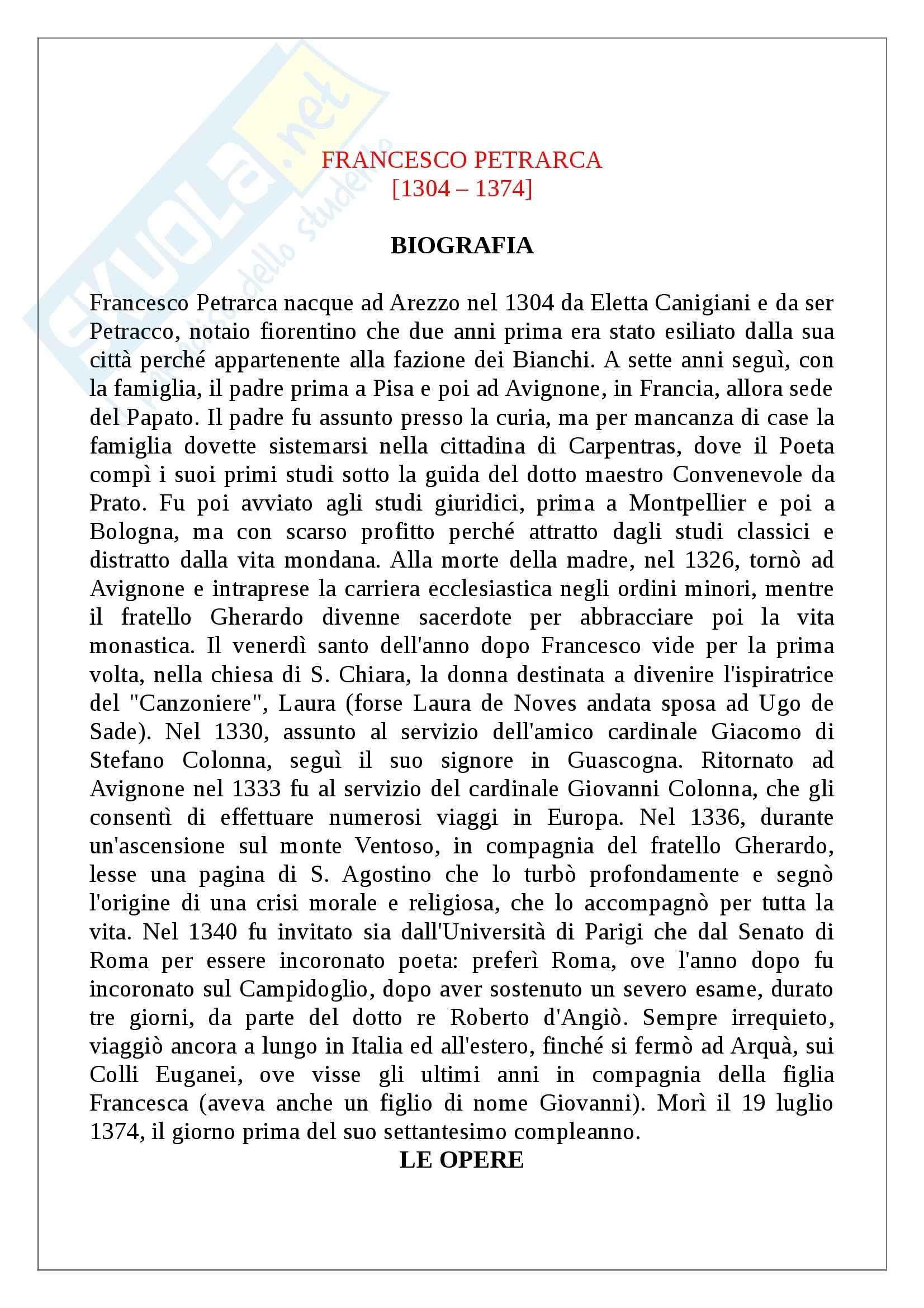 Letteratura italiana - biografia e opere di Francesco Petrarca