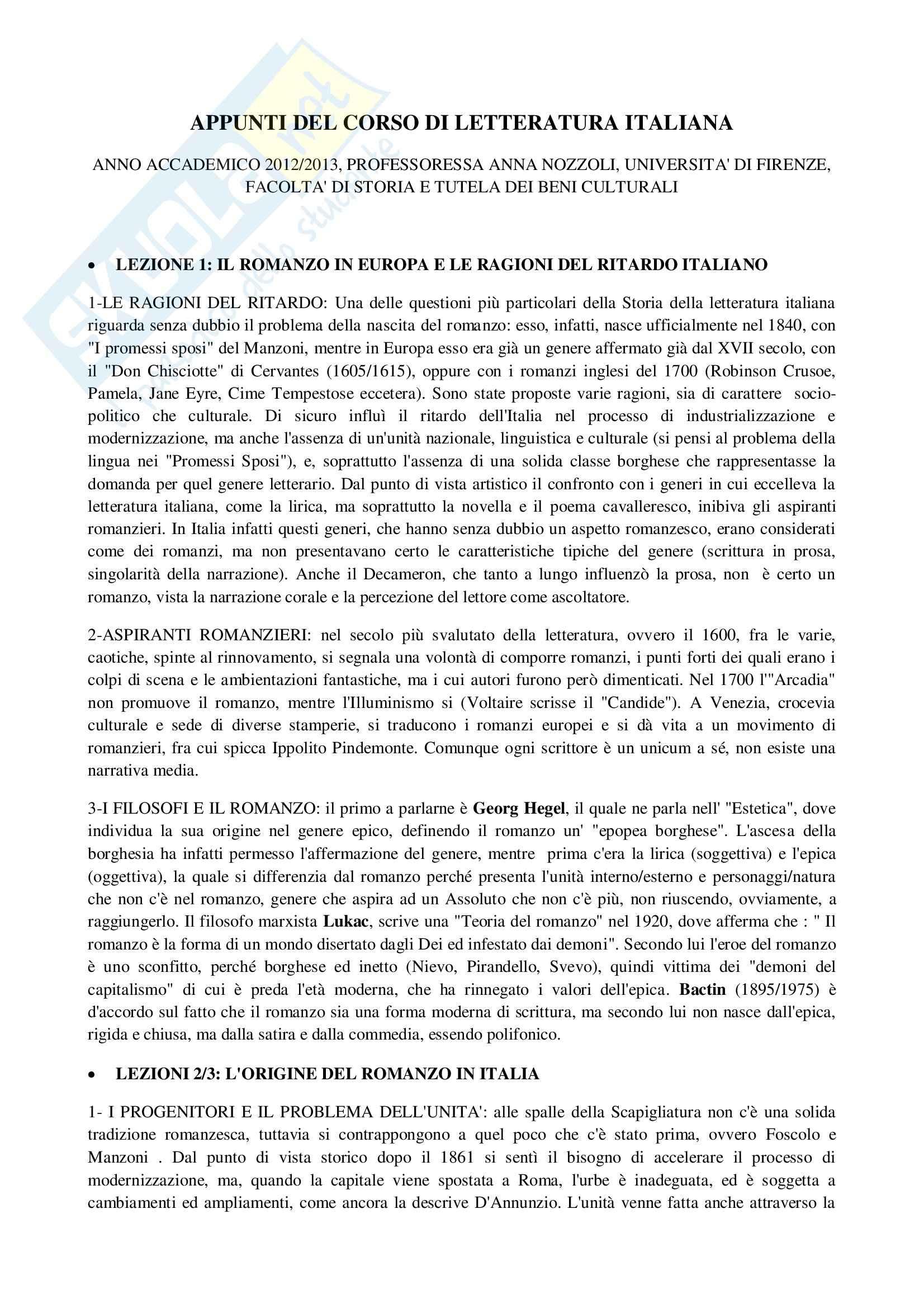 Romanzo italiano, Letteratura italiana