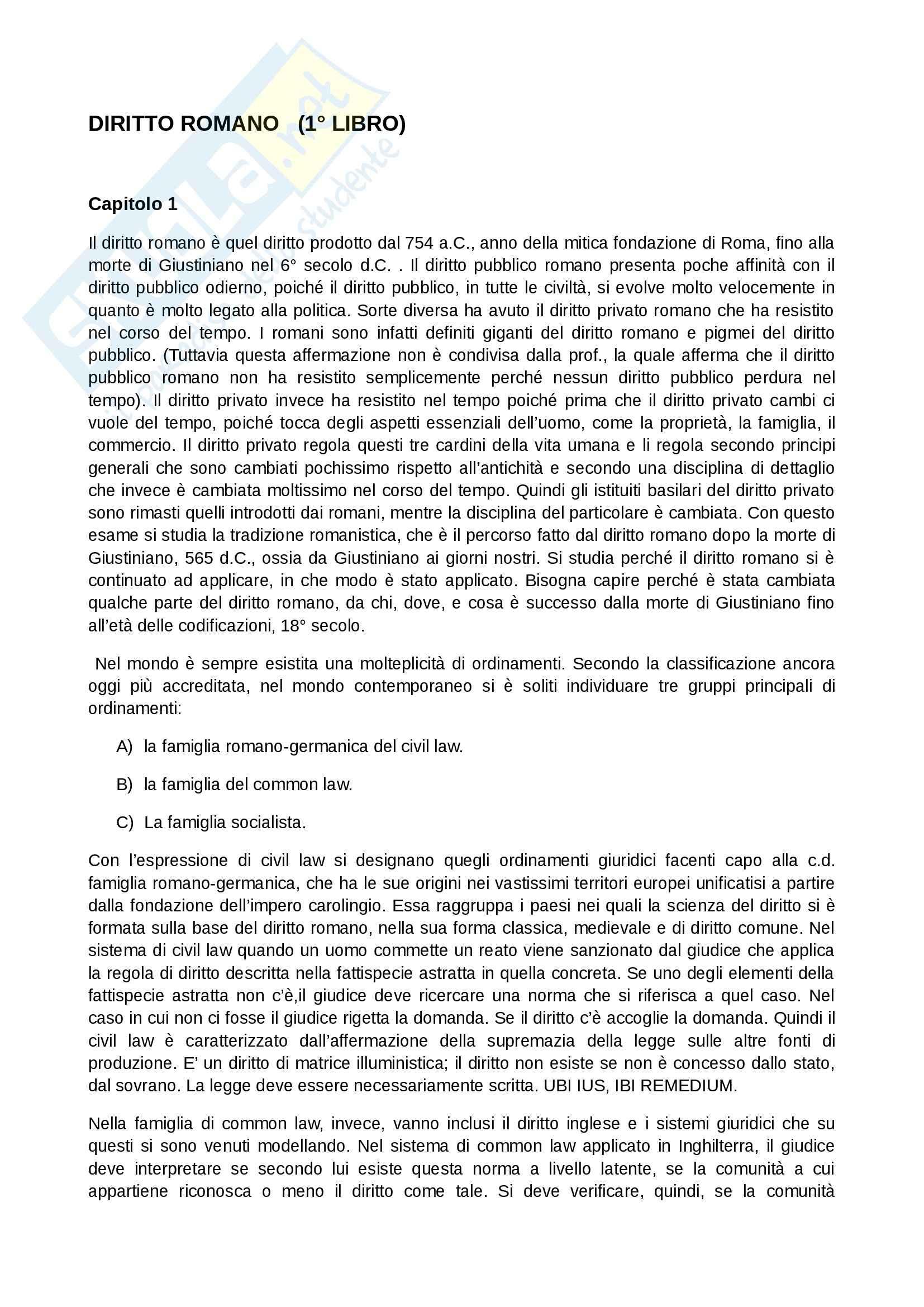 Diritto romano -  concetti e nozioni