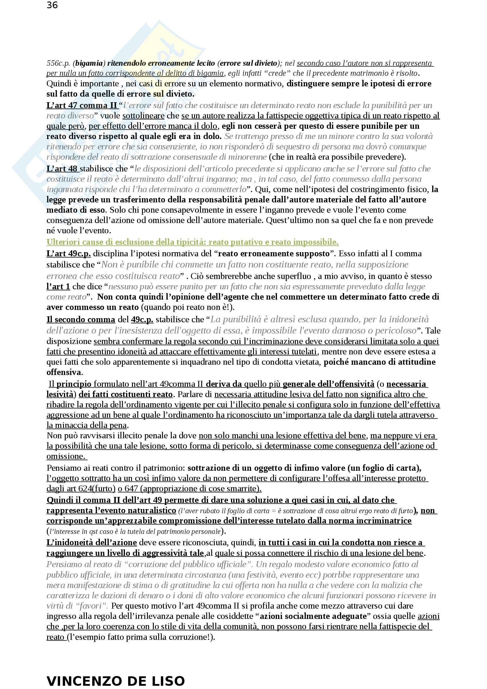Riassunto esame Diritto Penale, prof. Moccia, libro consigliato Diritto penale, Fiore Pag. 36