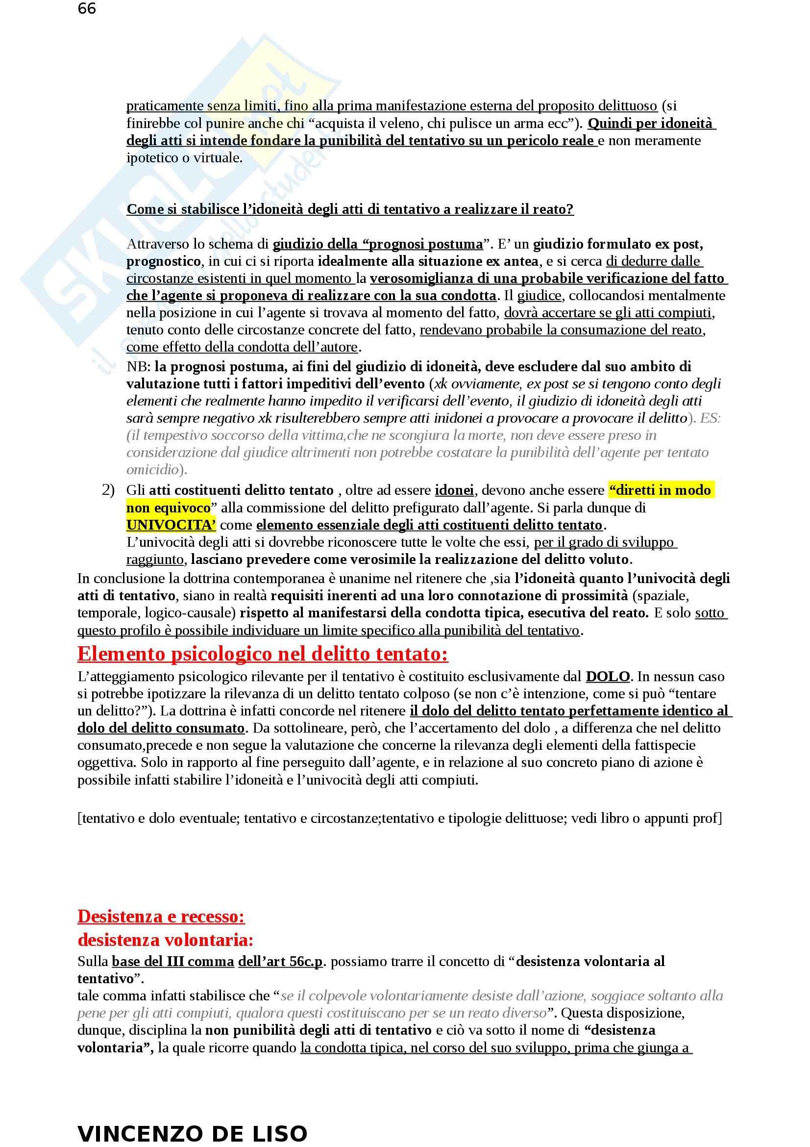 Riassunto esame Diritto Penale, prof. Moccia, libro consigliato Diritto penale, Fiore Pag. 66