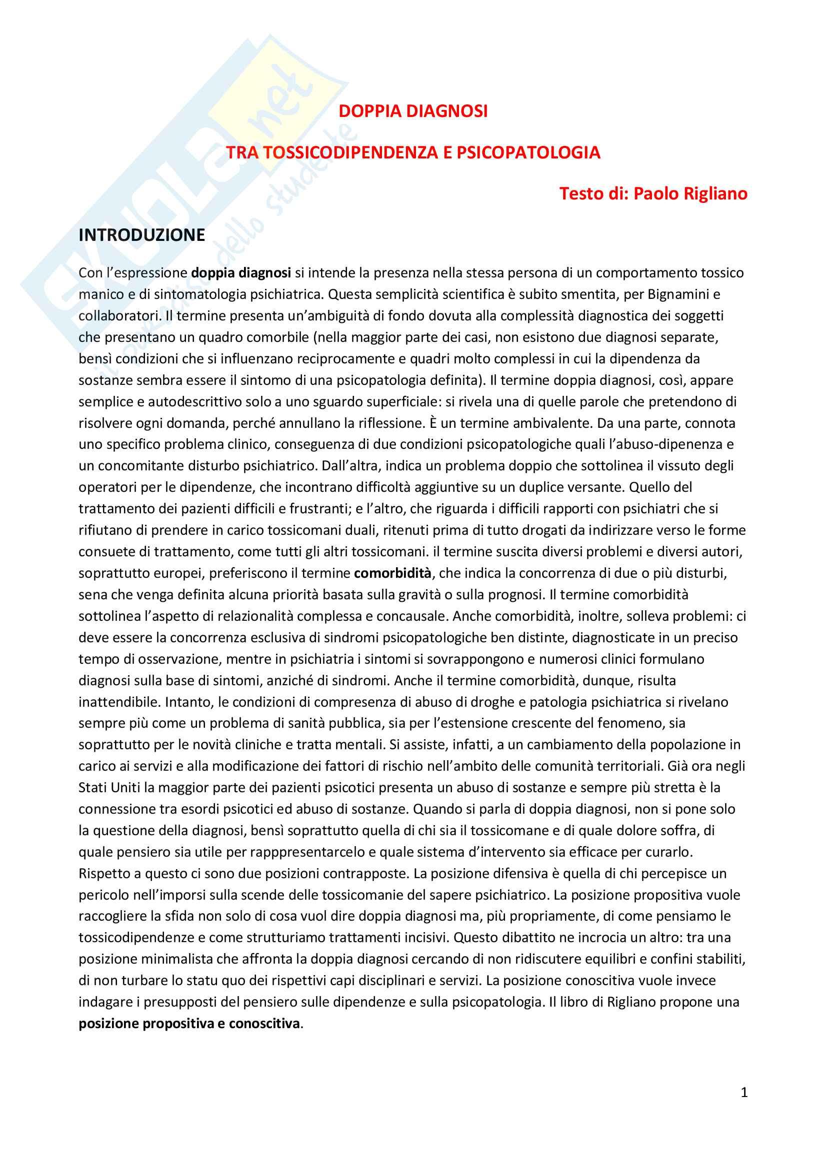 Riassunto esame Dipendenze patologiche, prof. Di Blasi, libro consigliato Doppia diagnosi. Tra tossicodipendenza e psicopatologia, Rigliano