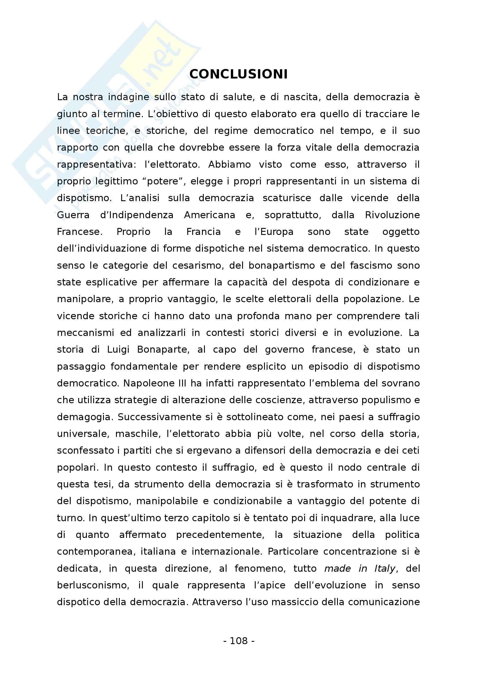 La democrazia rappresentativa. Un regime tra suffragio universale e dispotismo - Tesi Pag. 116