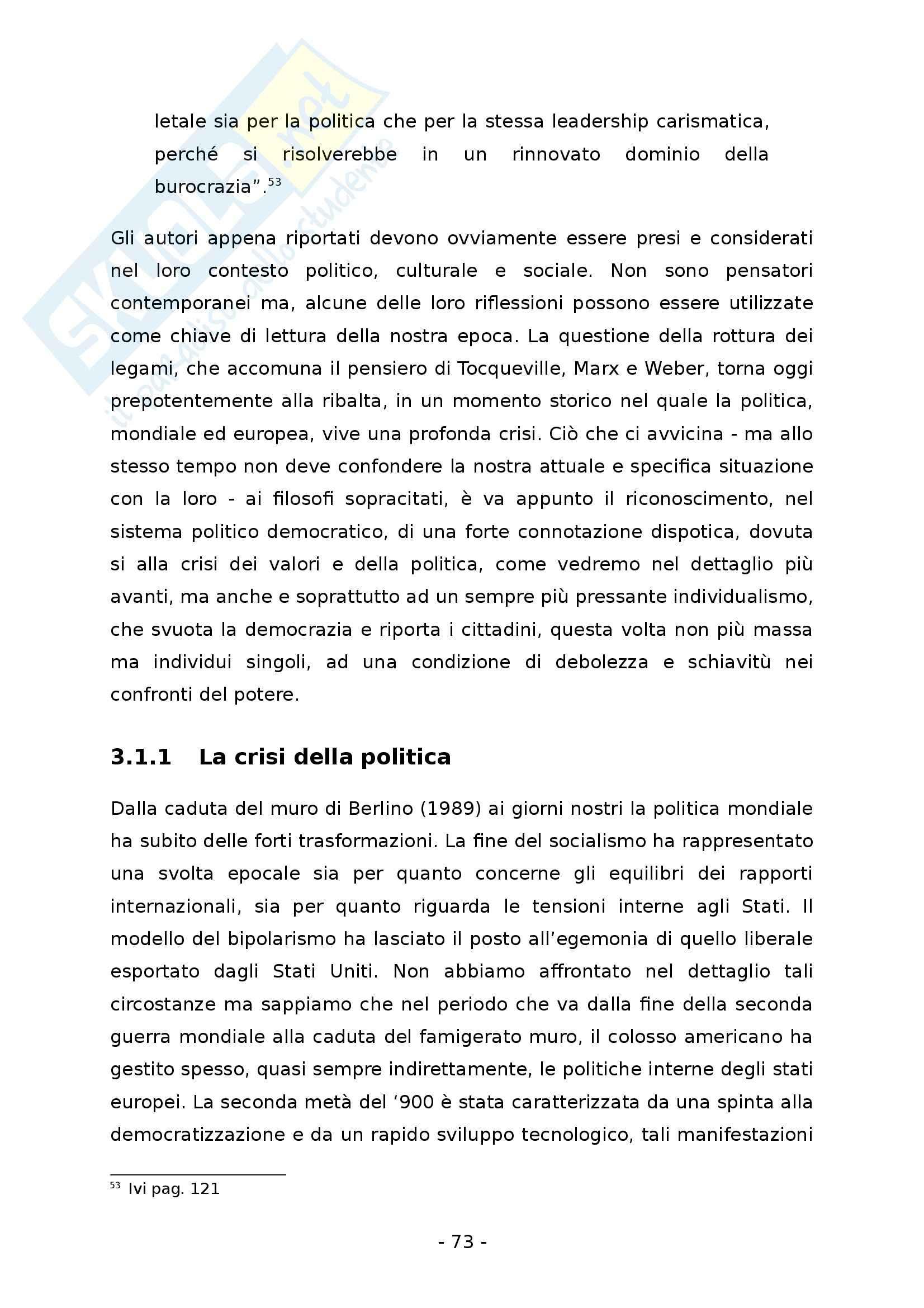La democrazia rappresentativa. Un regime tra suffragio universale e dispotismo - Tesi Pag. 81