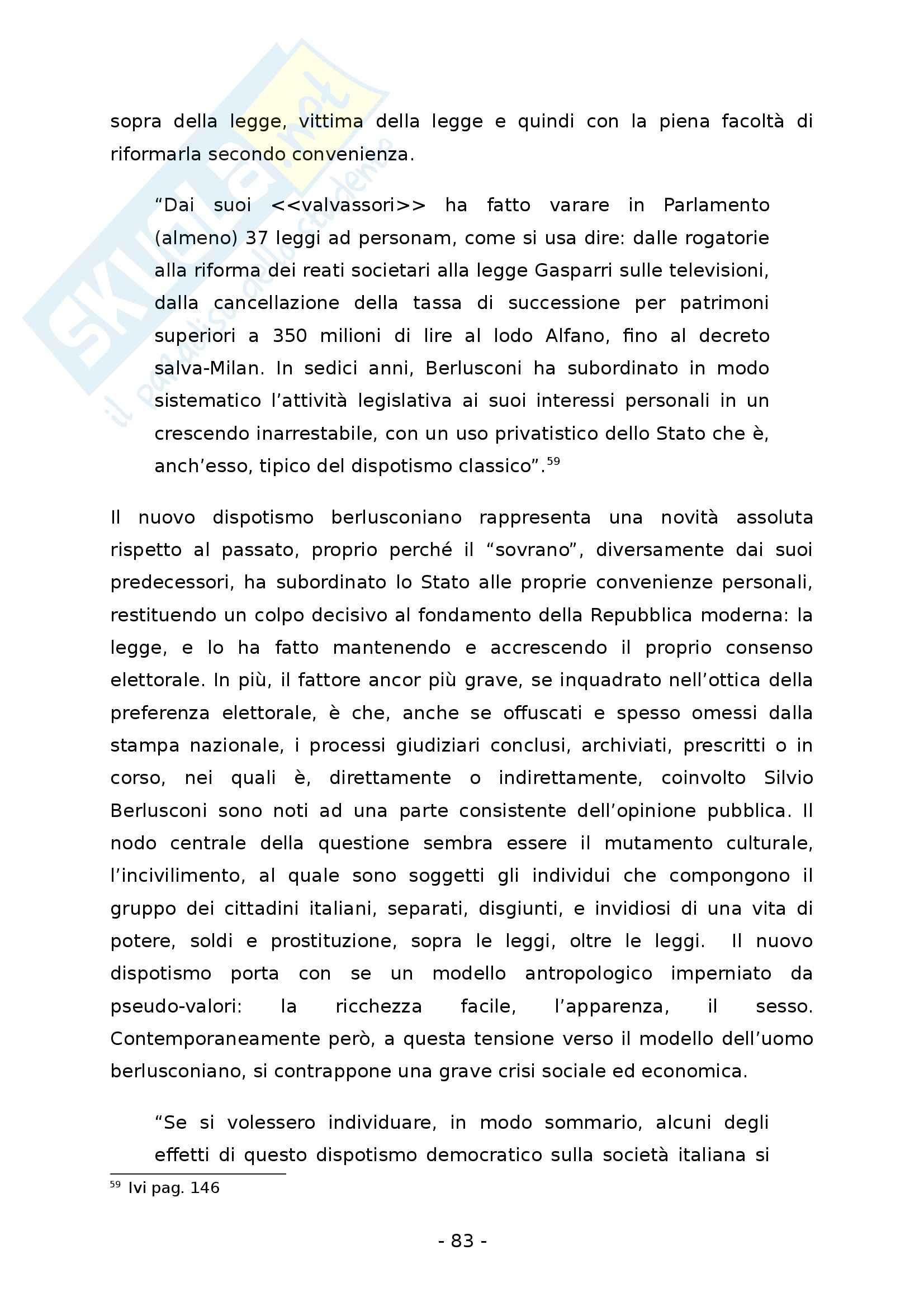 La democrazia rappresentativa. Un regime tra suffragio universale e dispotismo - Tesi Pag. 91