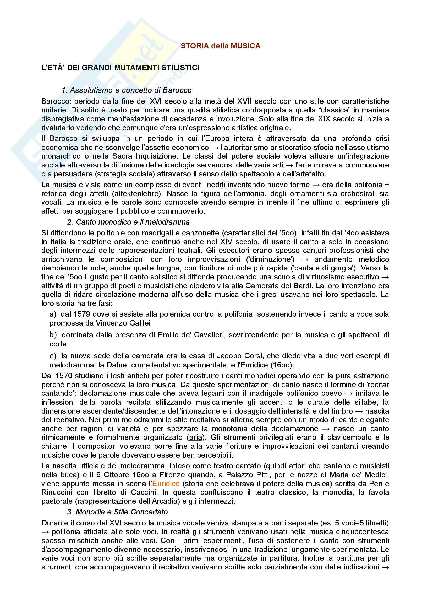 Riassunto esame di Storia della Musica, prof. Moppi, libro consigliato Manuale di storia della musica, Elvidio Surian