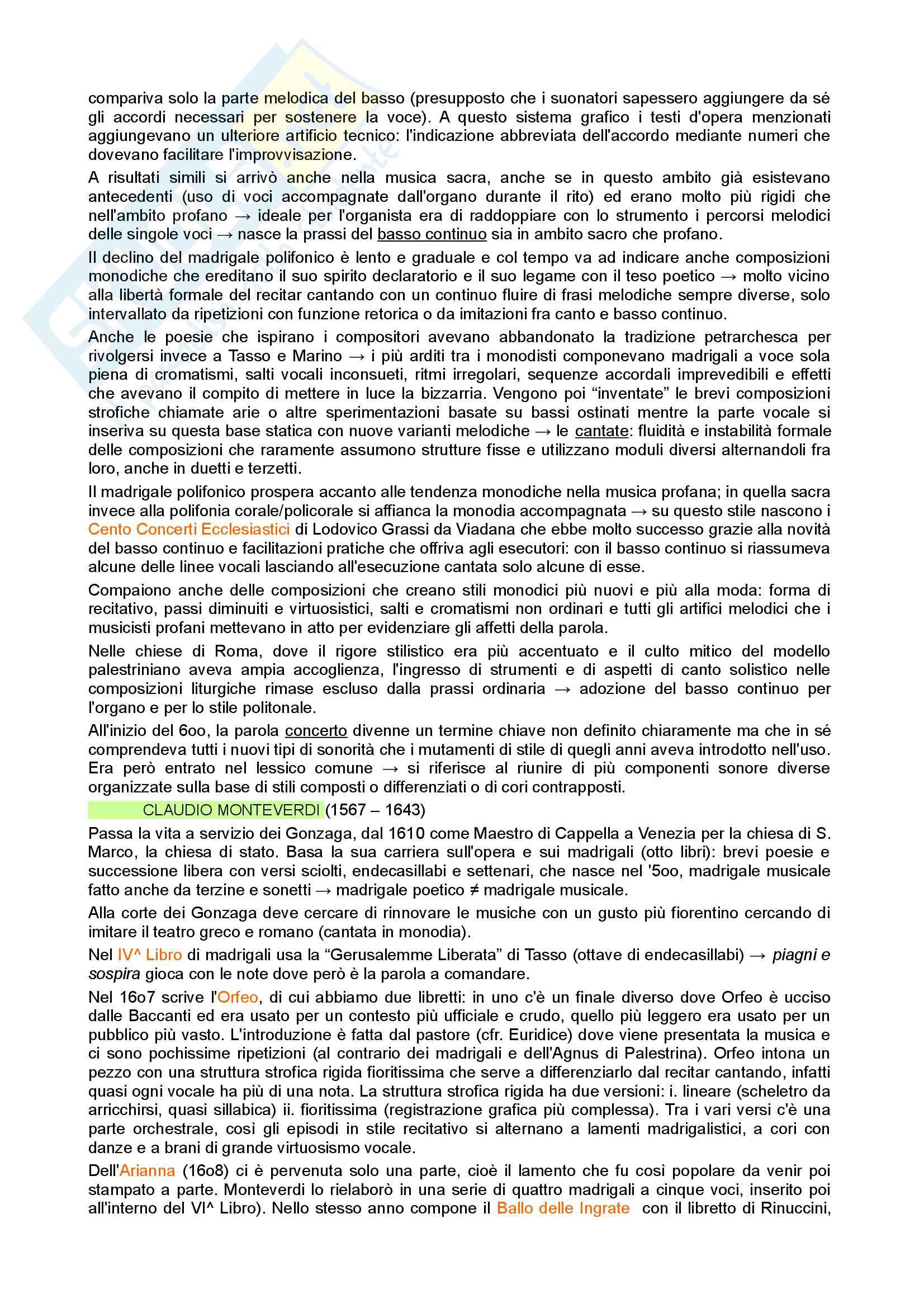 Riassunto esame di Storia della Musica, prof. Moppi, libro consigliato Manuale di storia della musica, Elvidio Surian Pag. 2